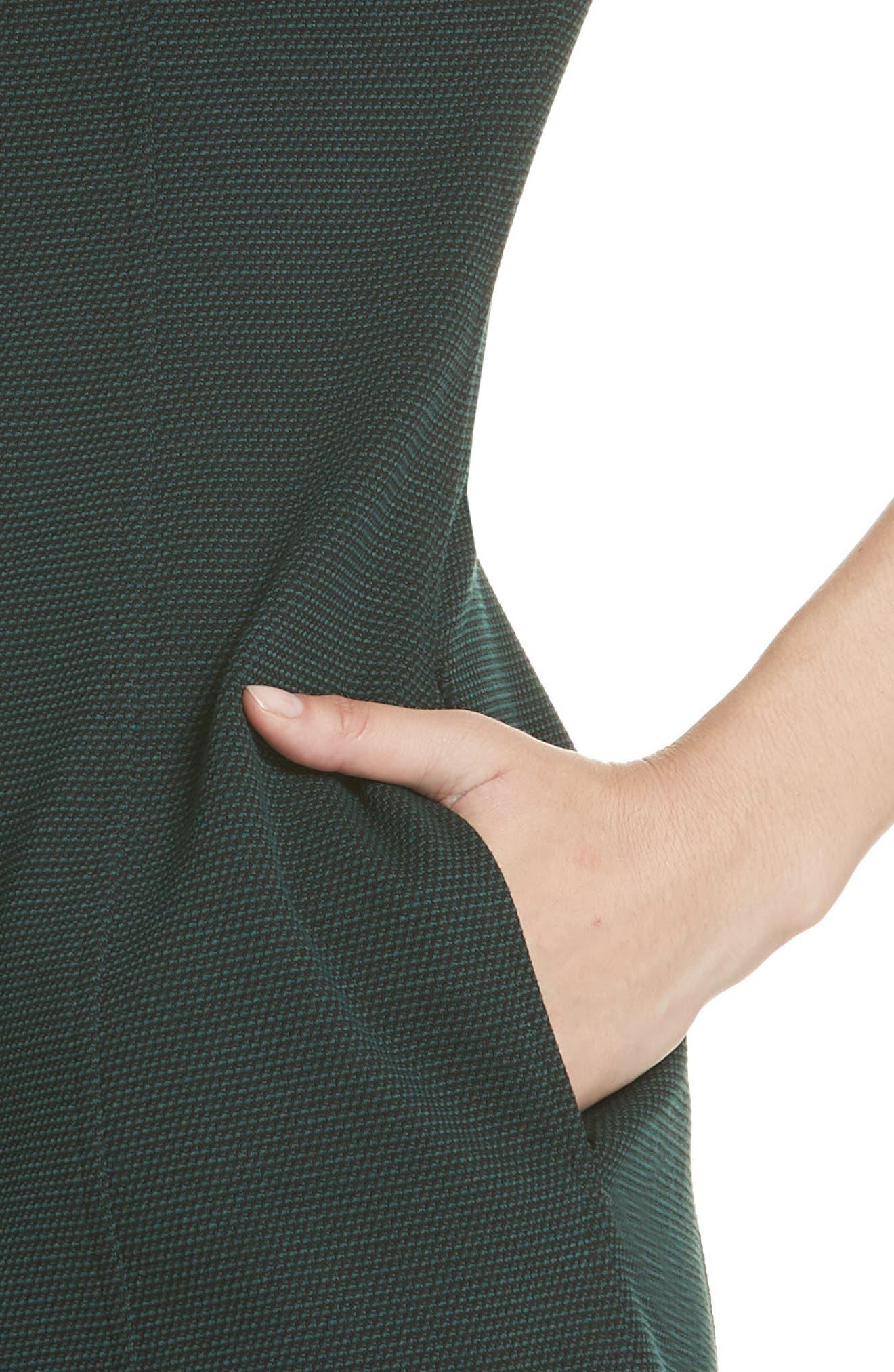 Easy Snap Textured Dress,                             Alternate thumbnail 4, color,                             GREEN POPLAR/ POP NAVY