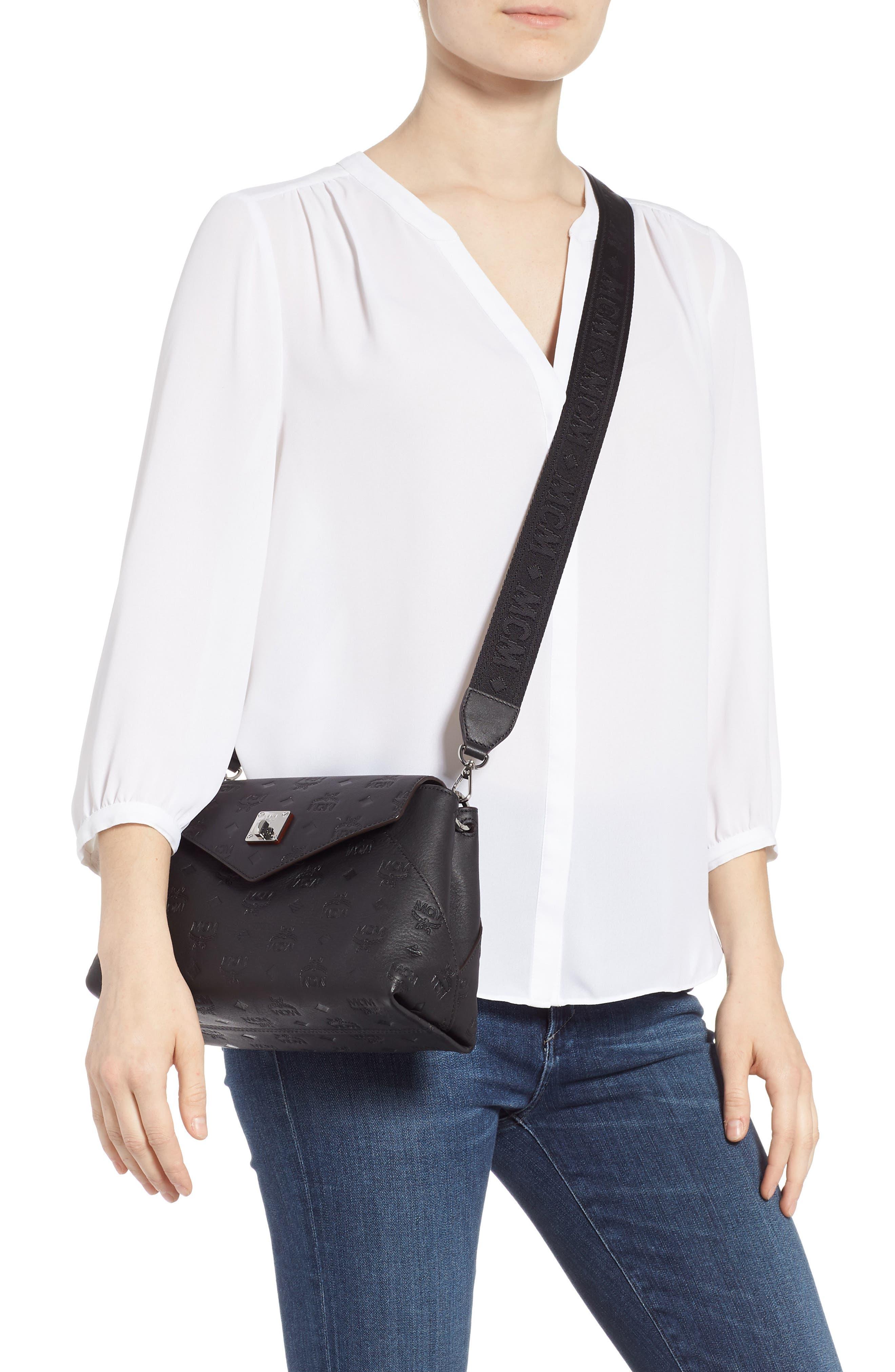 MCM,                             Essentials Monogram Leather Small Crossbody Bag,                             Alternate thumbnail 3, color,                             BLACK