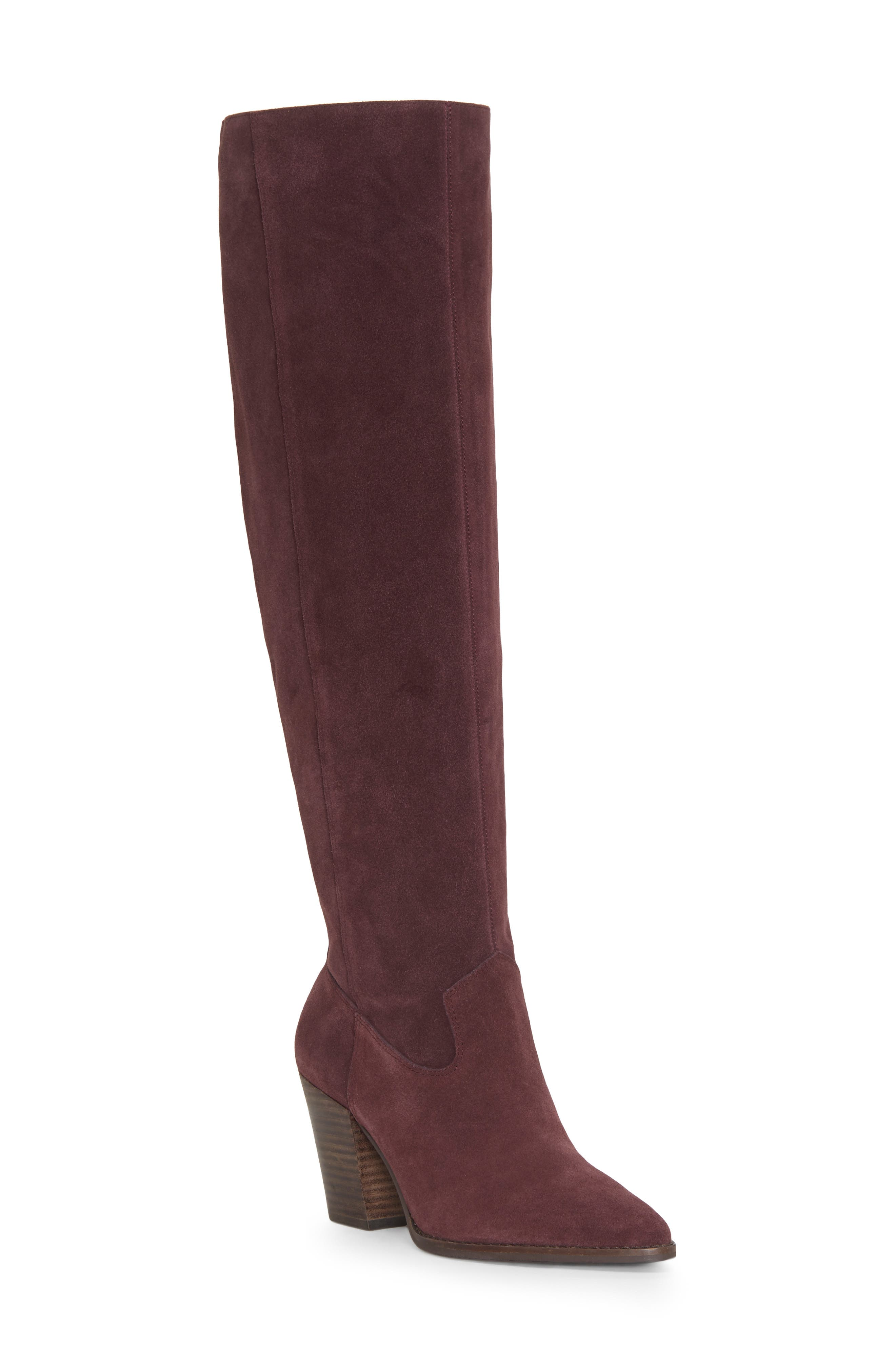LUCKY BRAND,                             Azoola Knee High Boot,                             Main thumbnail 1, color,                             RAISIN SUEDE