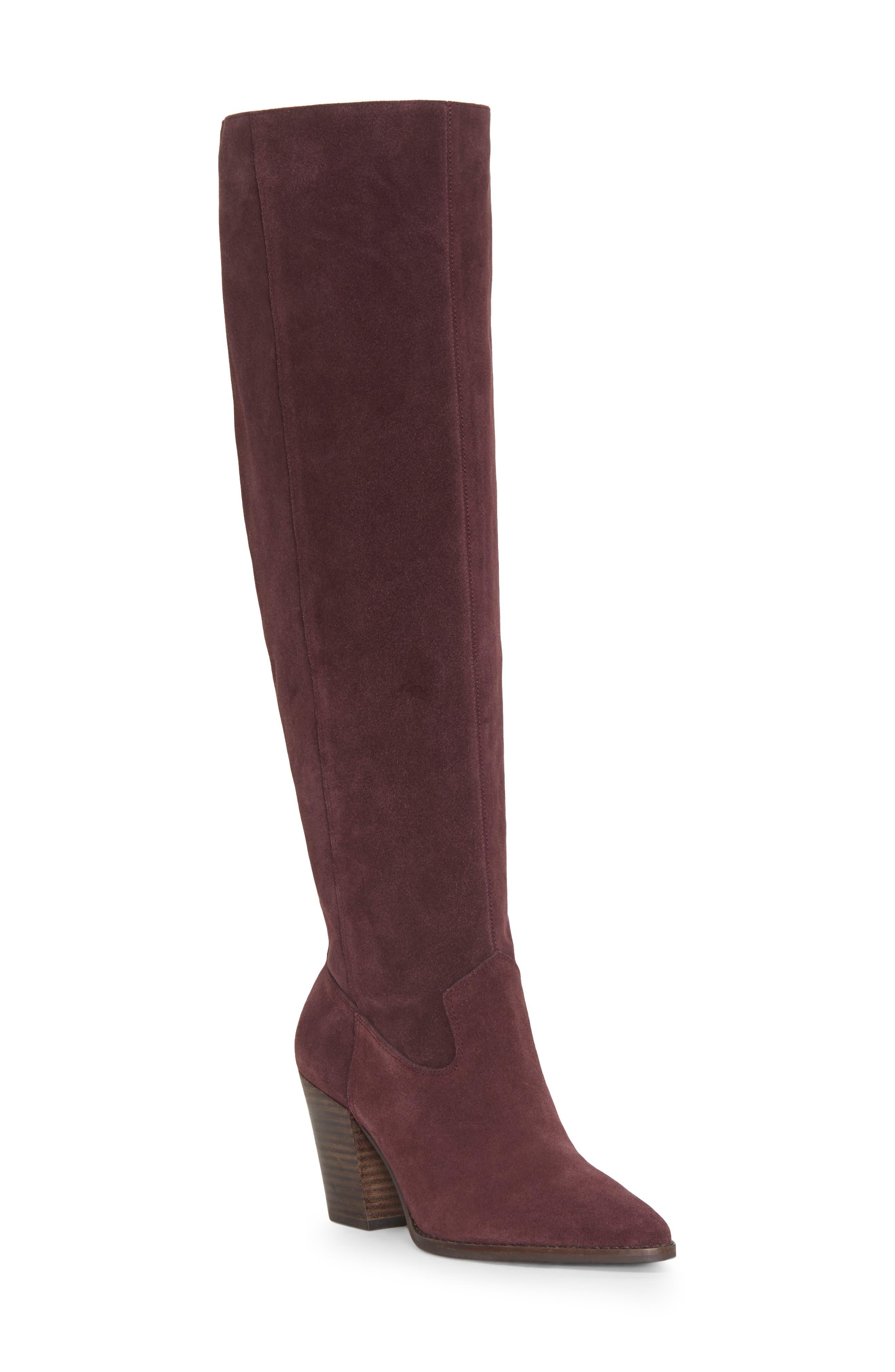 Azoola Knee High Boot, Main, color, RAISIN SUEDE