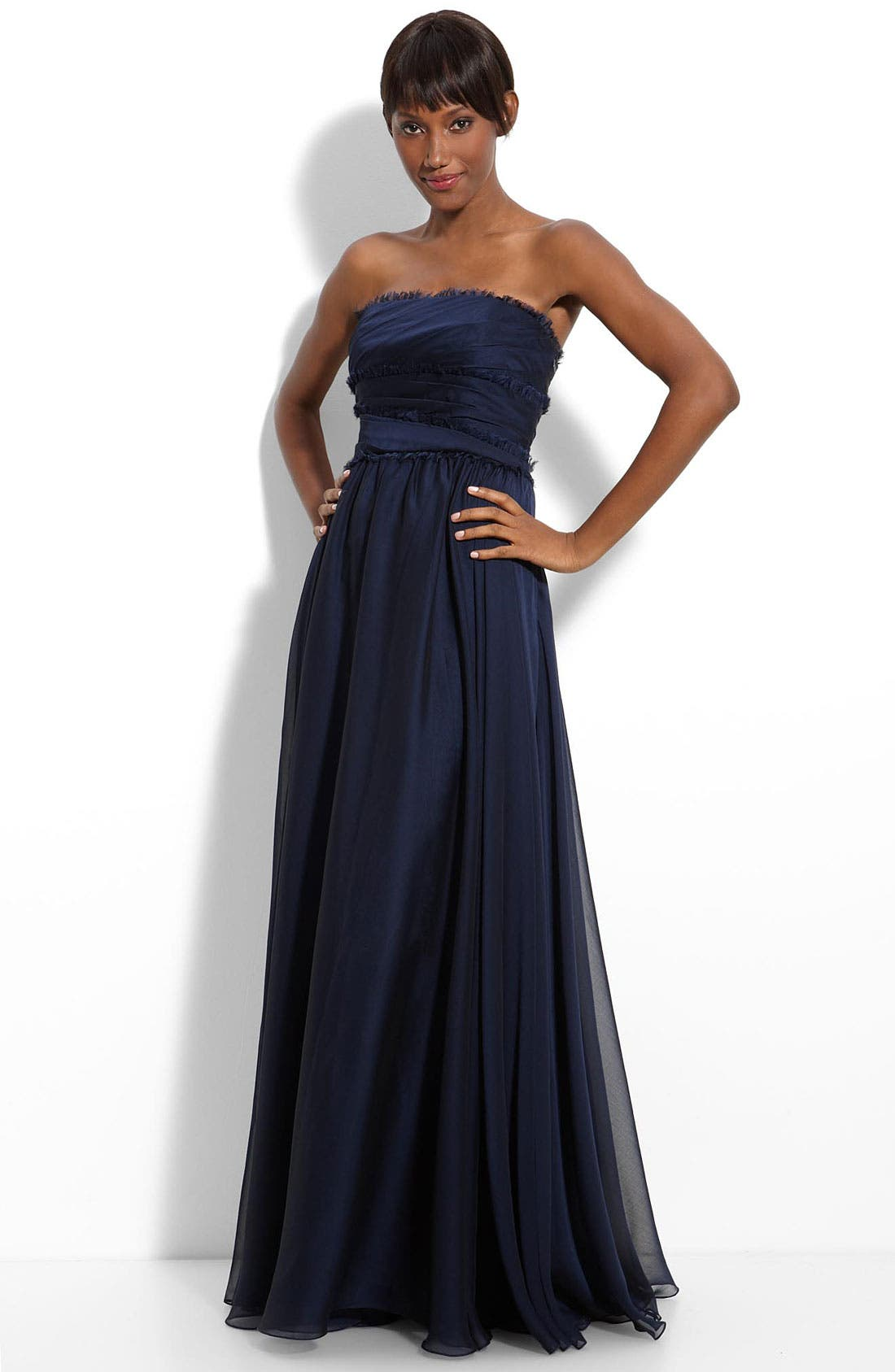 ML Monique Lhuillier Bridesmaids Strapless Chiffon Gown,                             Main thumbnail 9, color,