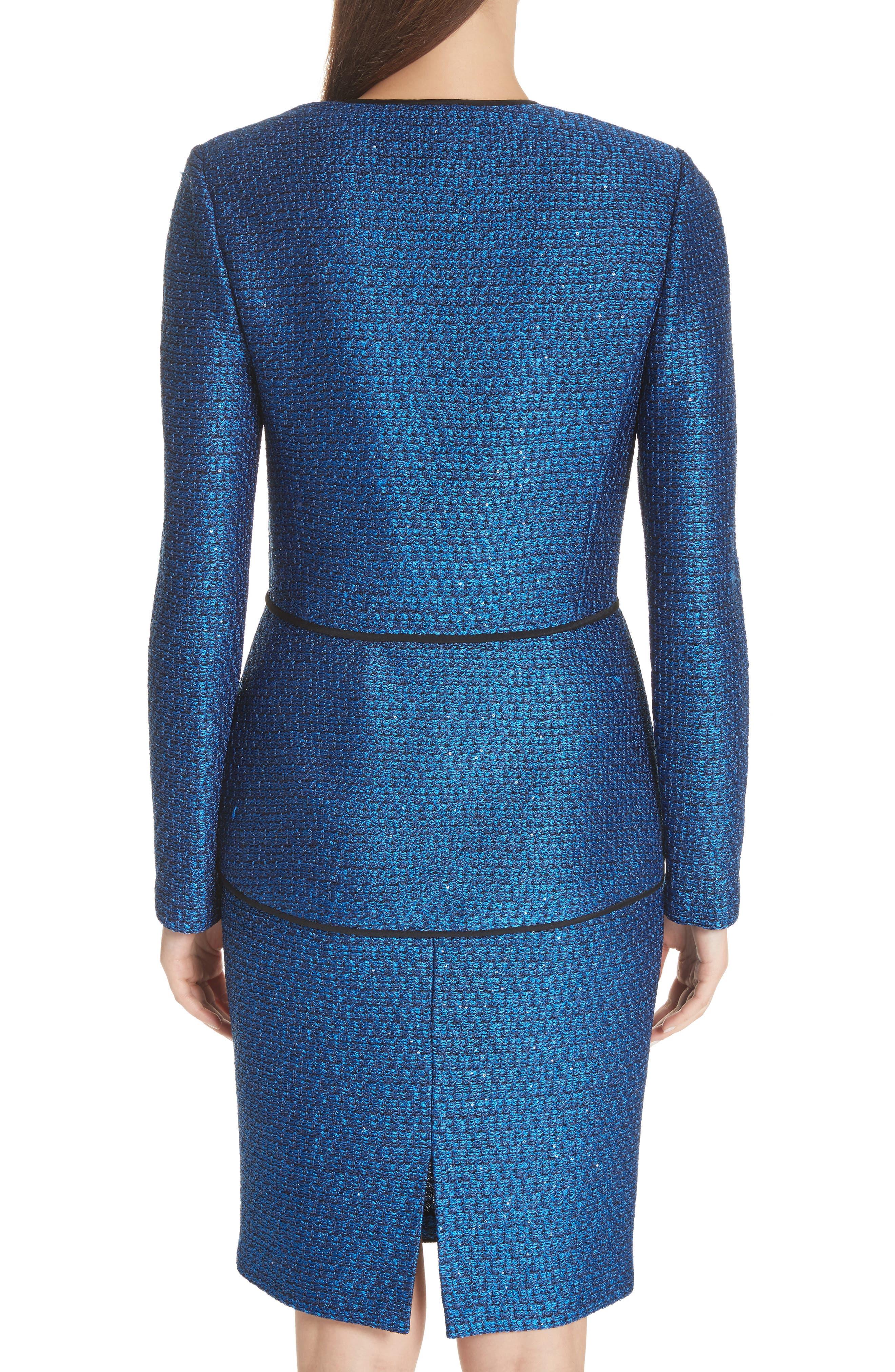 Luster Sequin Knit Jacket,                             Alternate thumbnail 2, color,                             COBALT MULTI