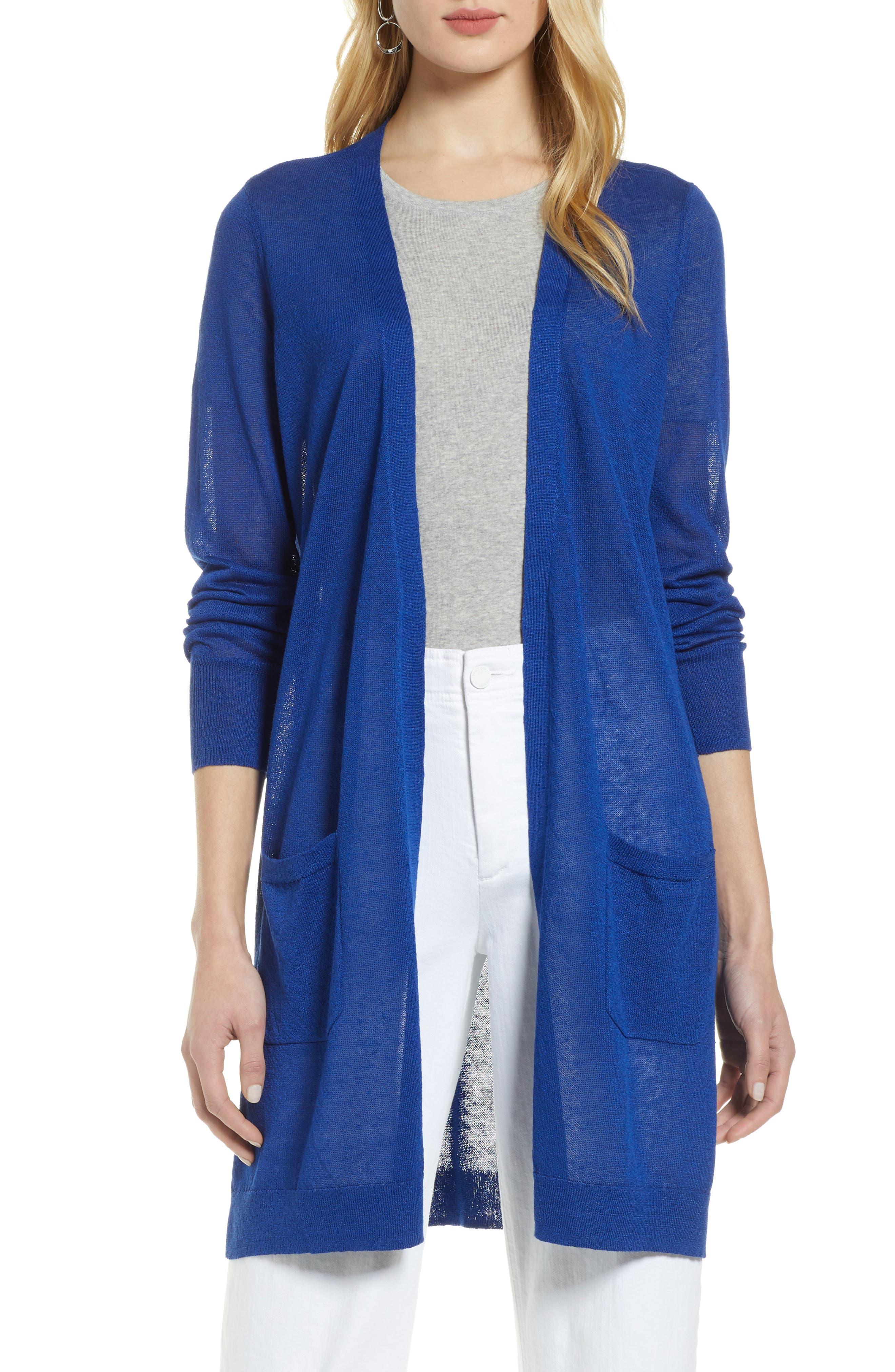 Petite Halogen Long Linen Blend Cardigan, Blue