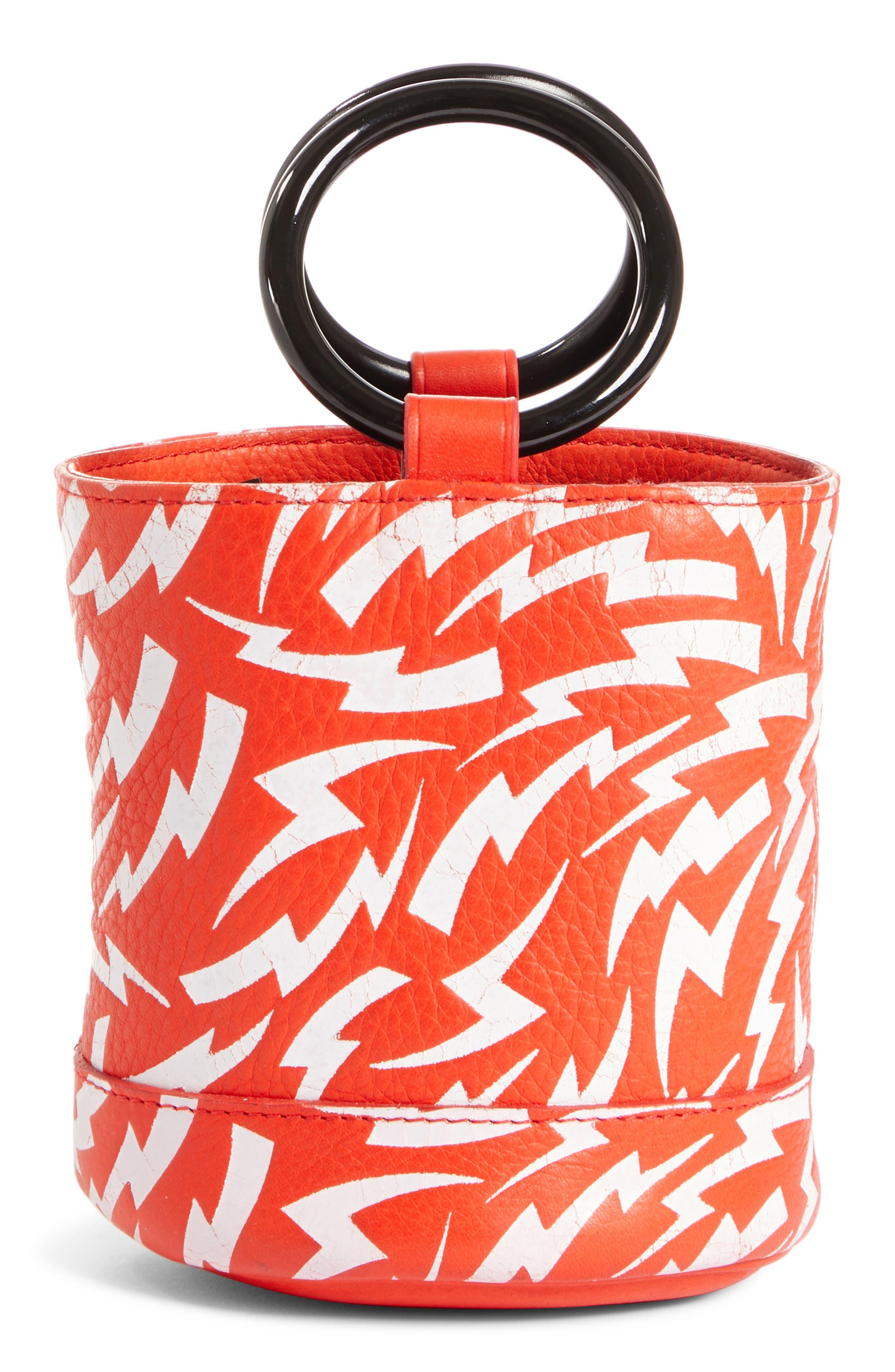 x Paramount Grease Bonsai 15 Lightning Print Bucket Bag,                             Main thumbnail 1, color,                             WHITE LIGHTNING BOLT