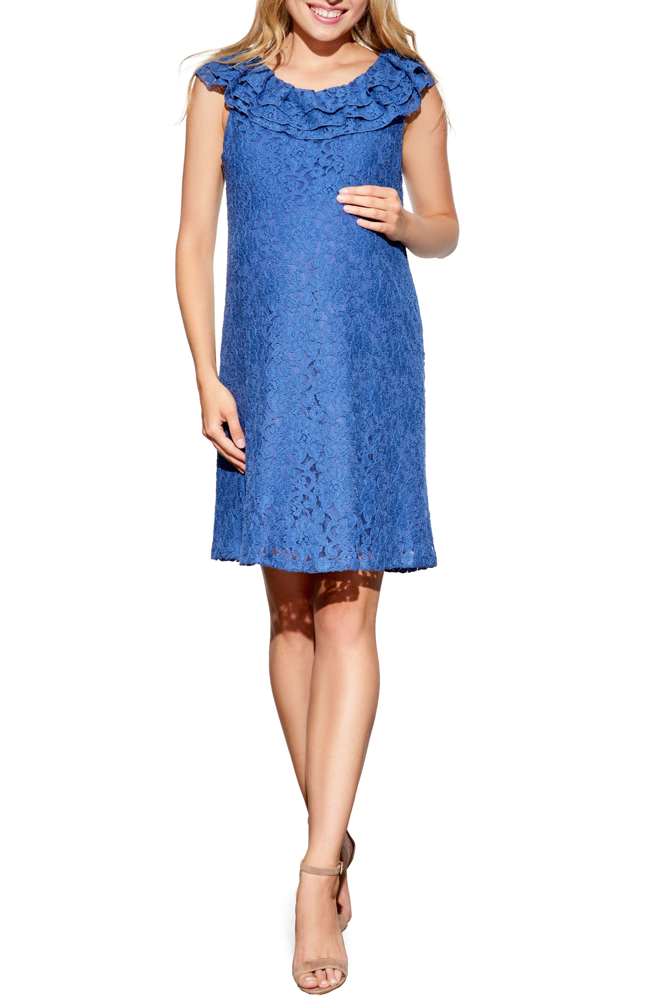 Ruffled Maternity Dress,                         Main,                         color, BLUE