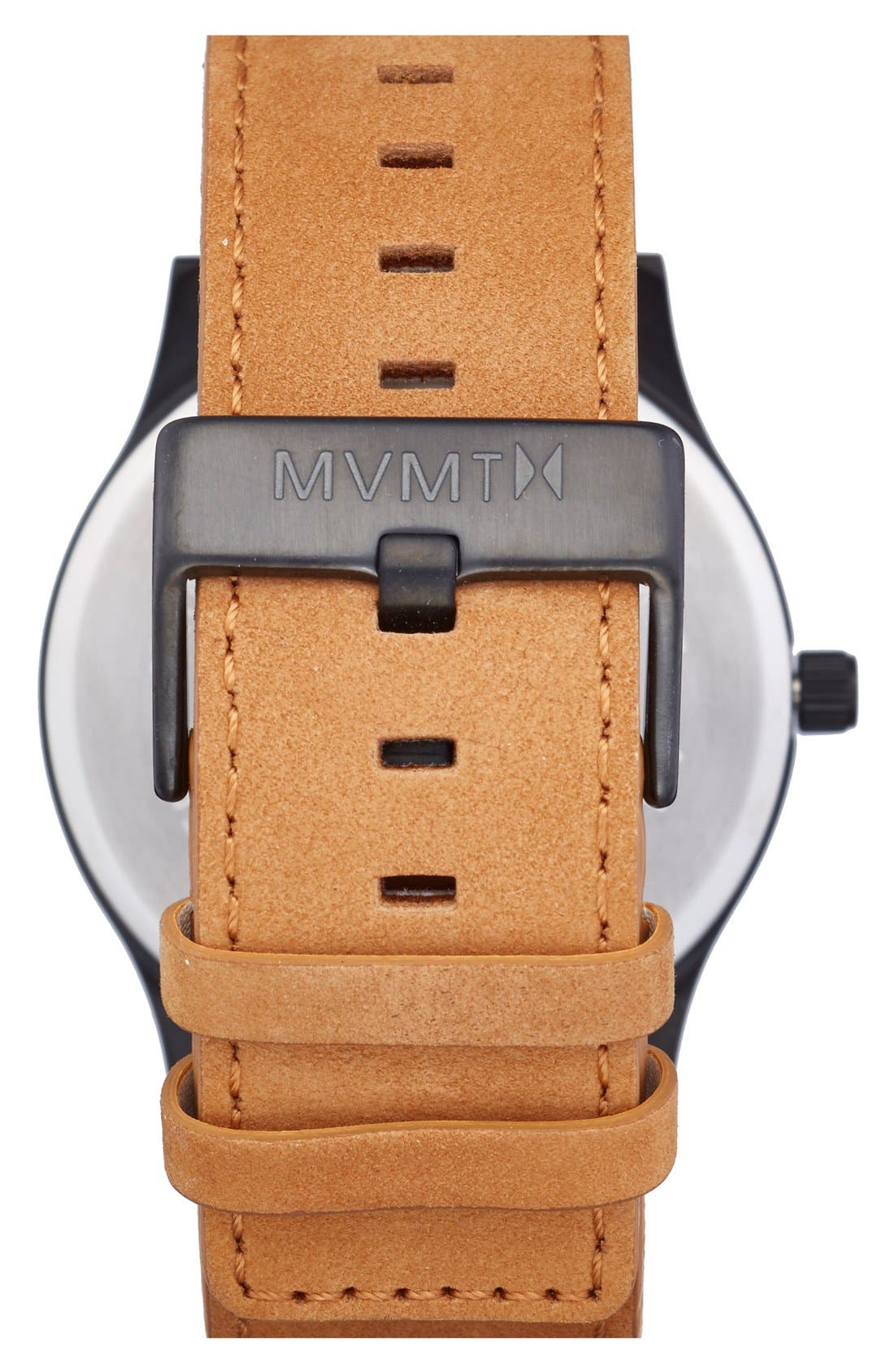 Leather Strap Watch, 45mm,                             Alternate thumbnail 2, color,                             TAN/ BLACK