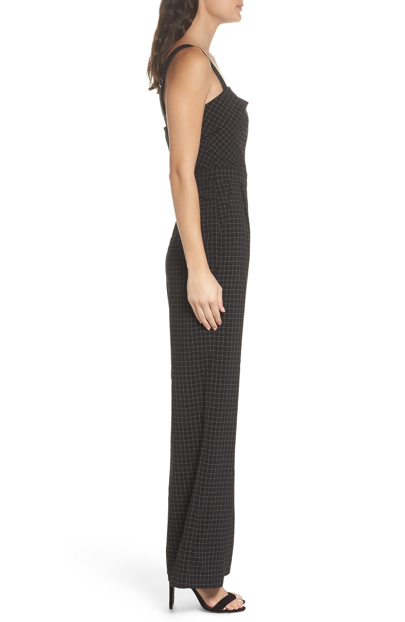 Lilah Plaid Jumpsuit,                             Alternate thumbnail 3, color,