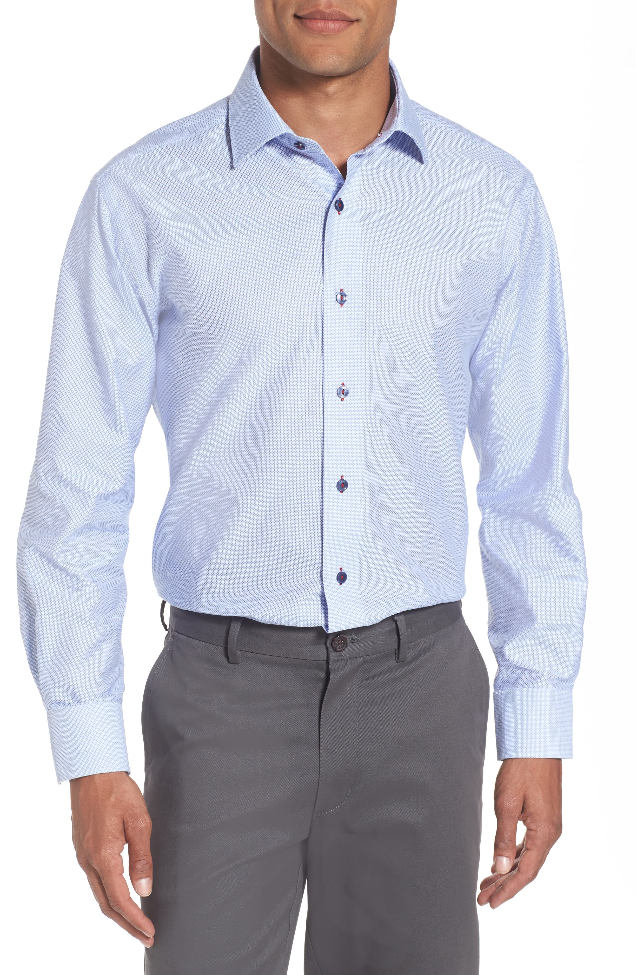 Trim Fit Geometric Dress Shirt,                         Main,                         color, 450