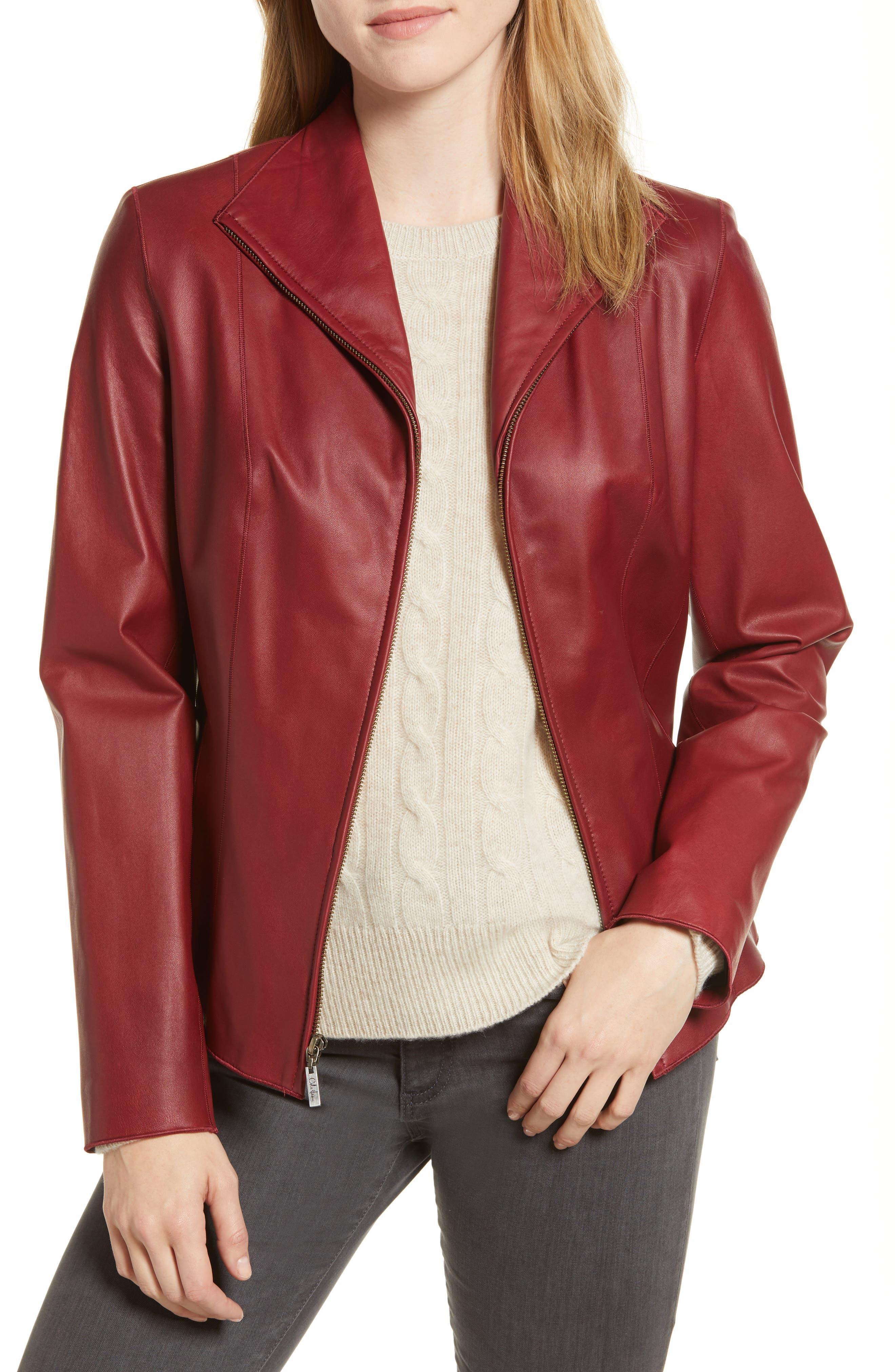 Lambskin Leather Scuba Jacket,                             Main thumbnail 1, color,                             RED