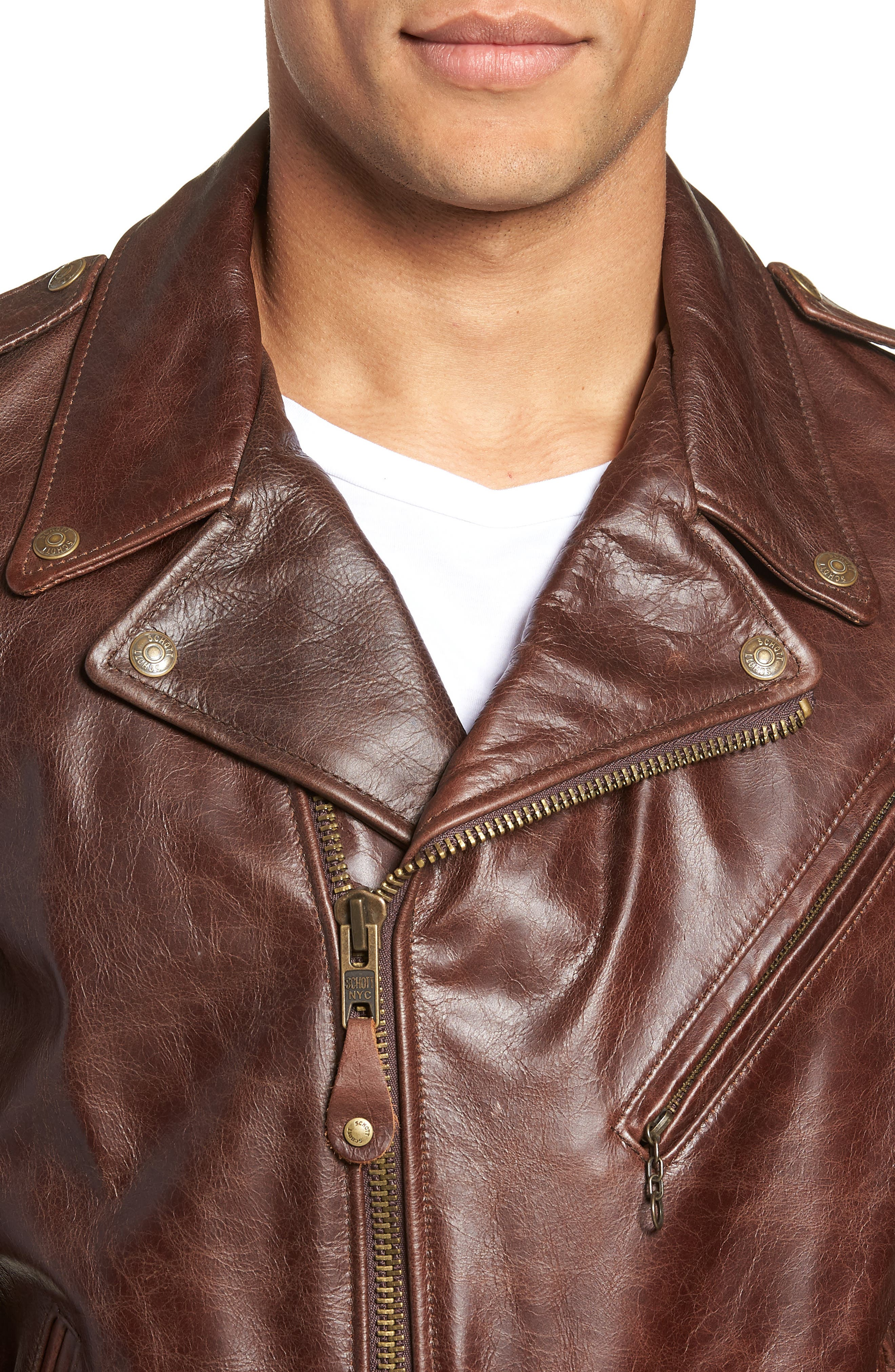 Waxy Cowhide Leather Motorcycle Jacket,                             Alternate thumbnail 5, color,                             BROWN
