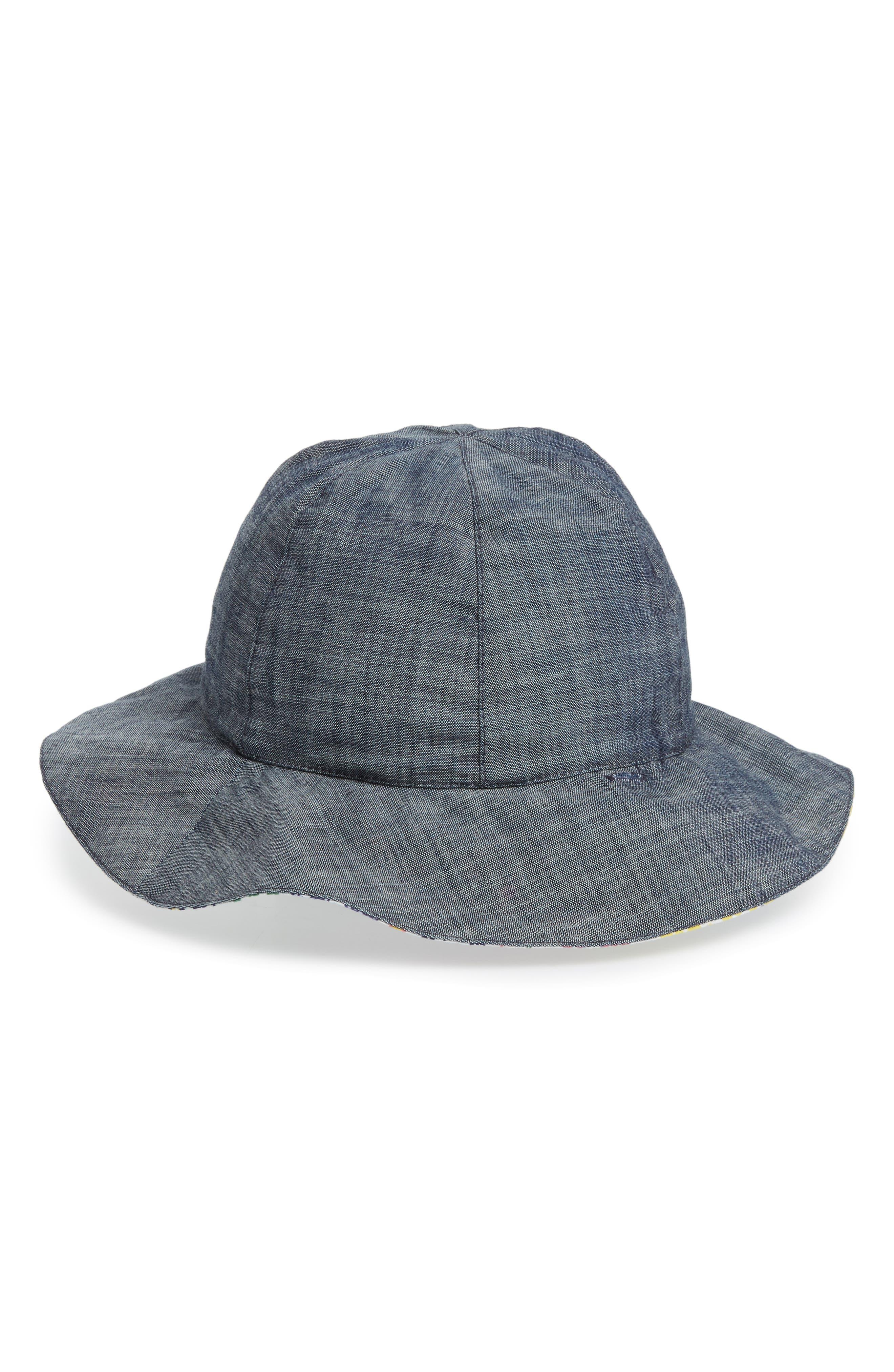 Reversible Sun Hat,                         Main,                         color, WHITE MULTI MEADOW