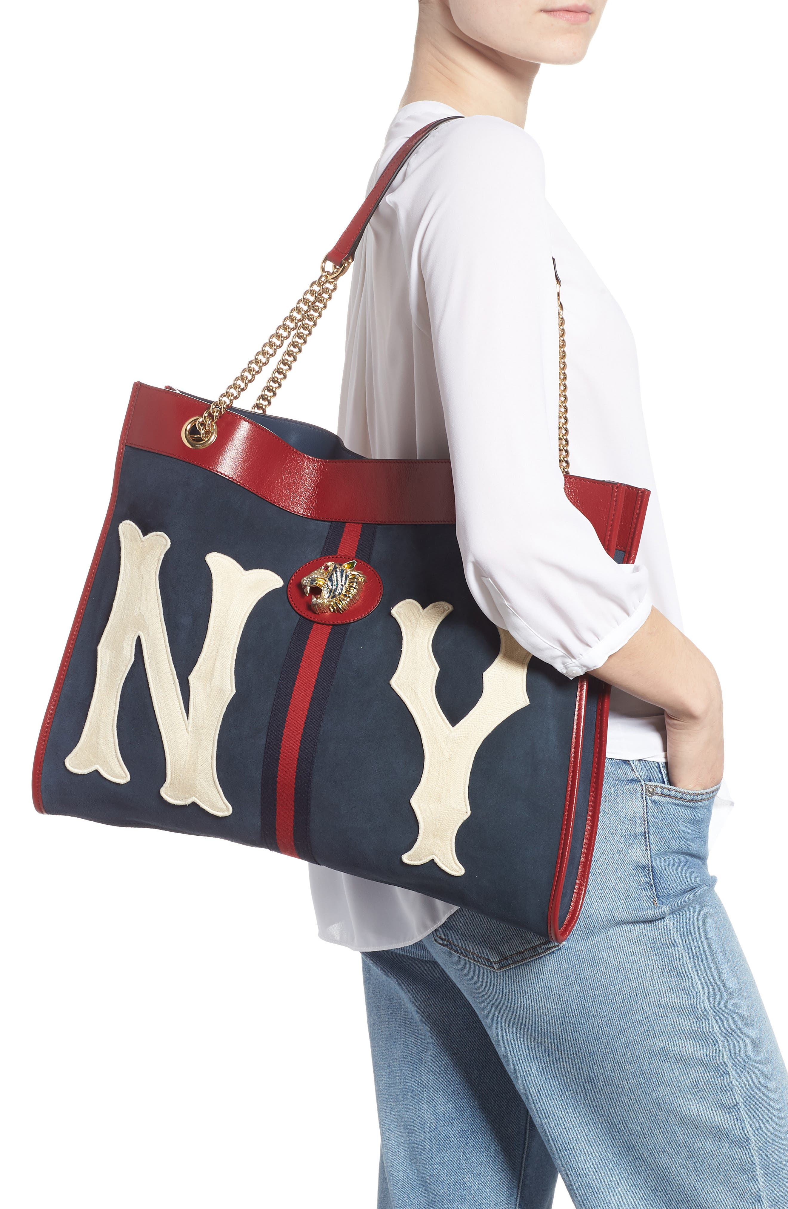 Linea Tiger NY Yankees Suede & Leather Tote,                             Alternate thumbnail 2, color,                             NEW BLUE/ CERISE/ BLUE RED