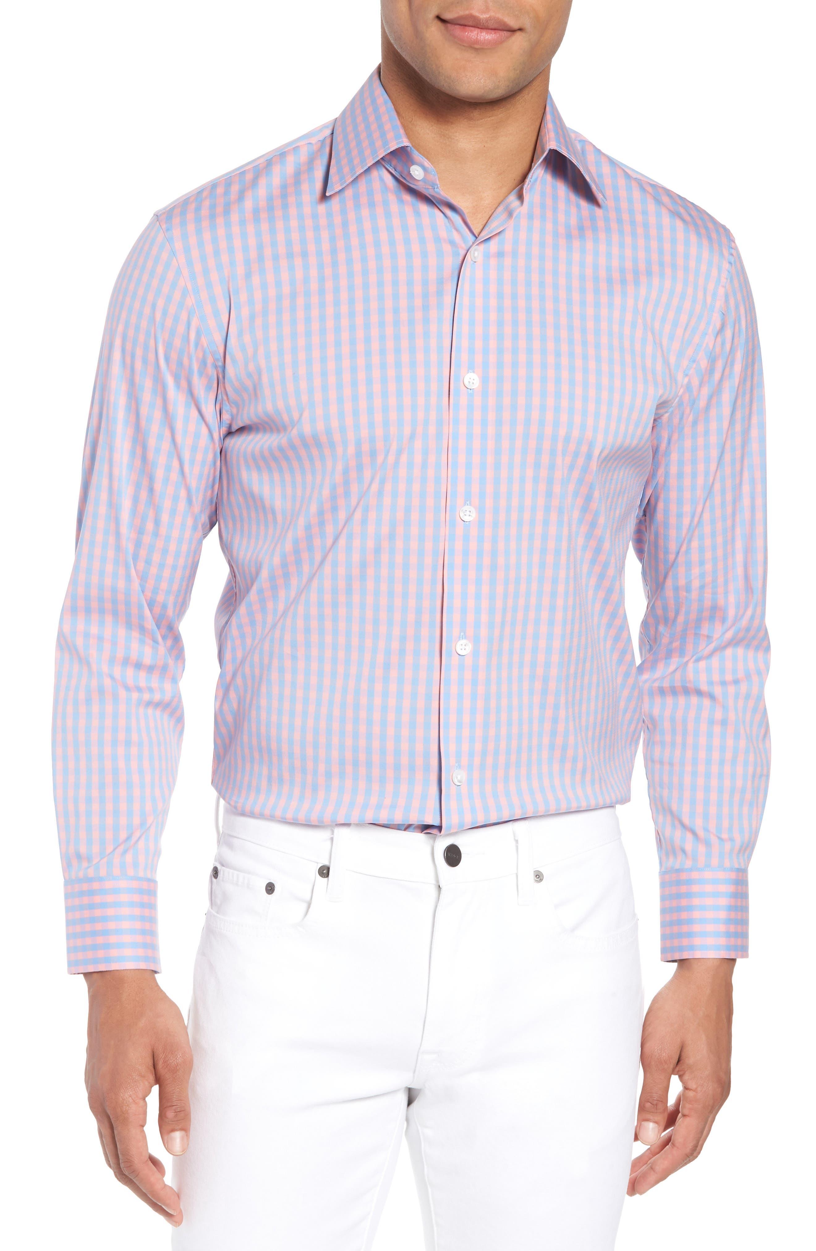 Jetsetter Slim Fit Stretch Check Dress Shirt,                         Main,                         color, 650