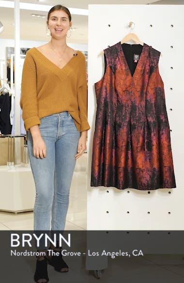Sleeveless Jacquard Fit & Flare Dress, sales video thumbnail