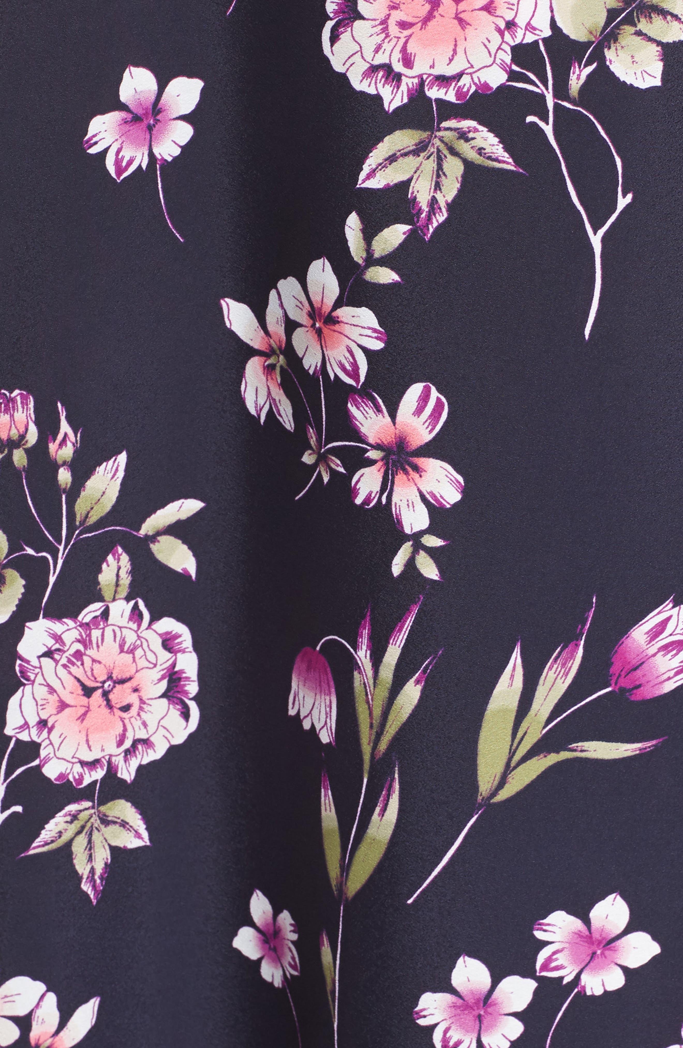 Floral Print Wrap Dress,                             Alternate thumbnail 6, color,                             410