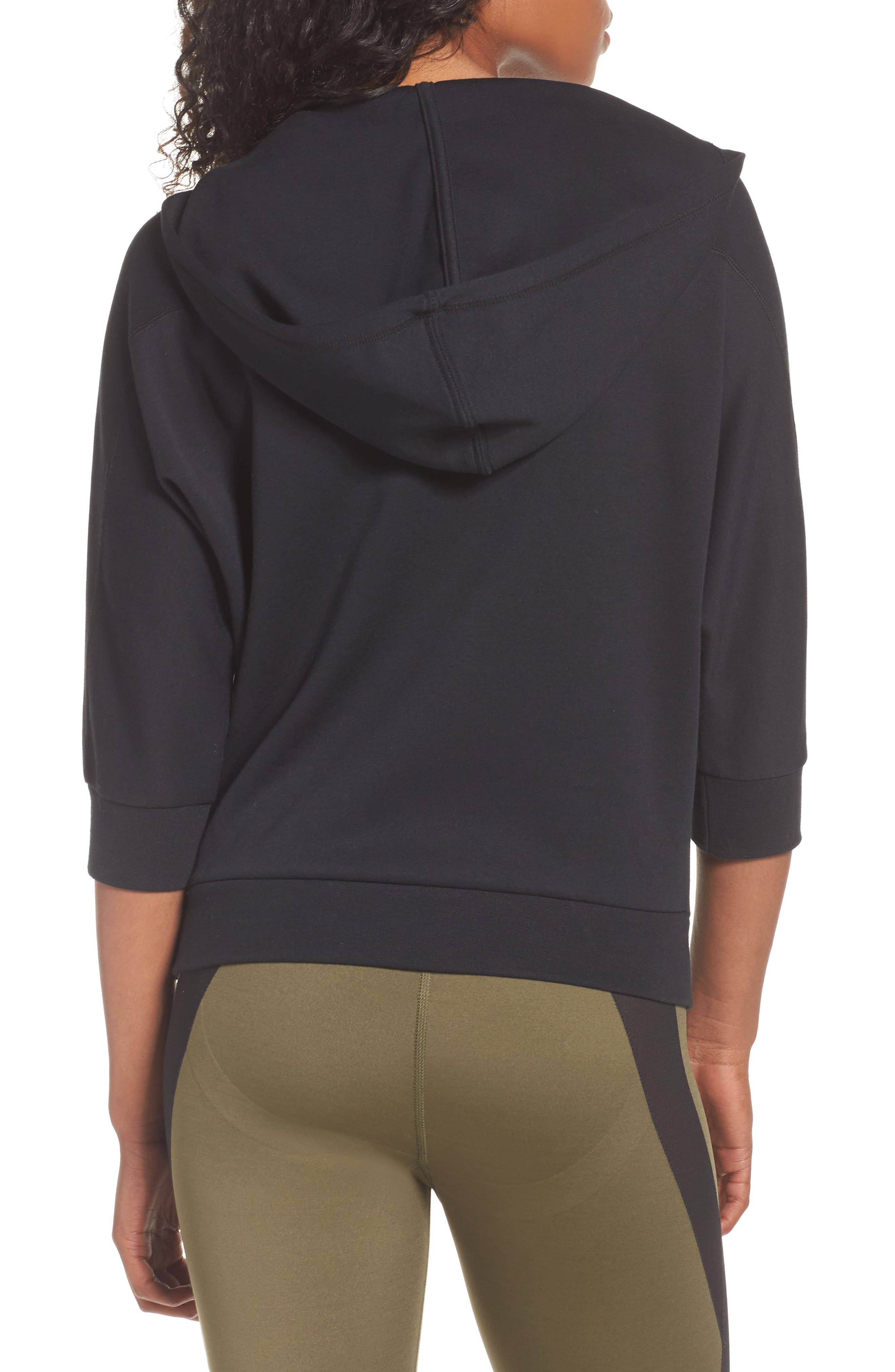 Yogini Lace-Up Hoodie,                             Alternate thumbnail 2, color,                             001