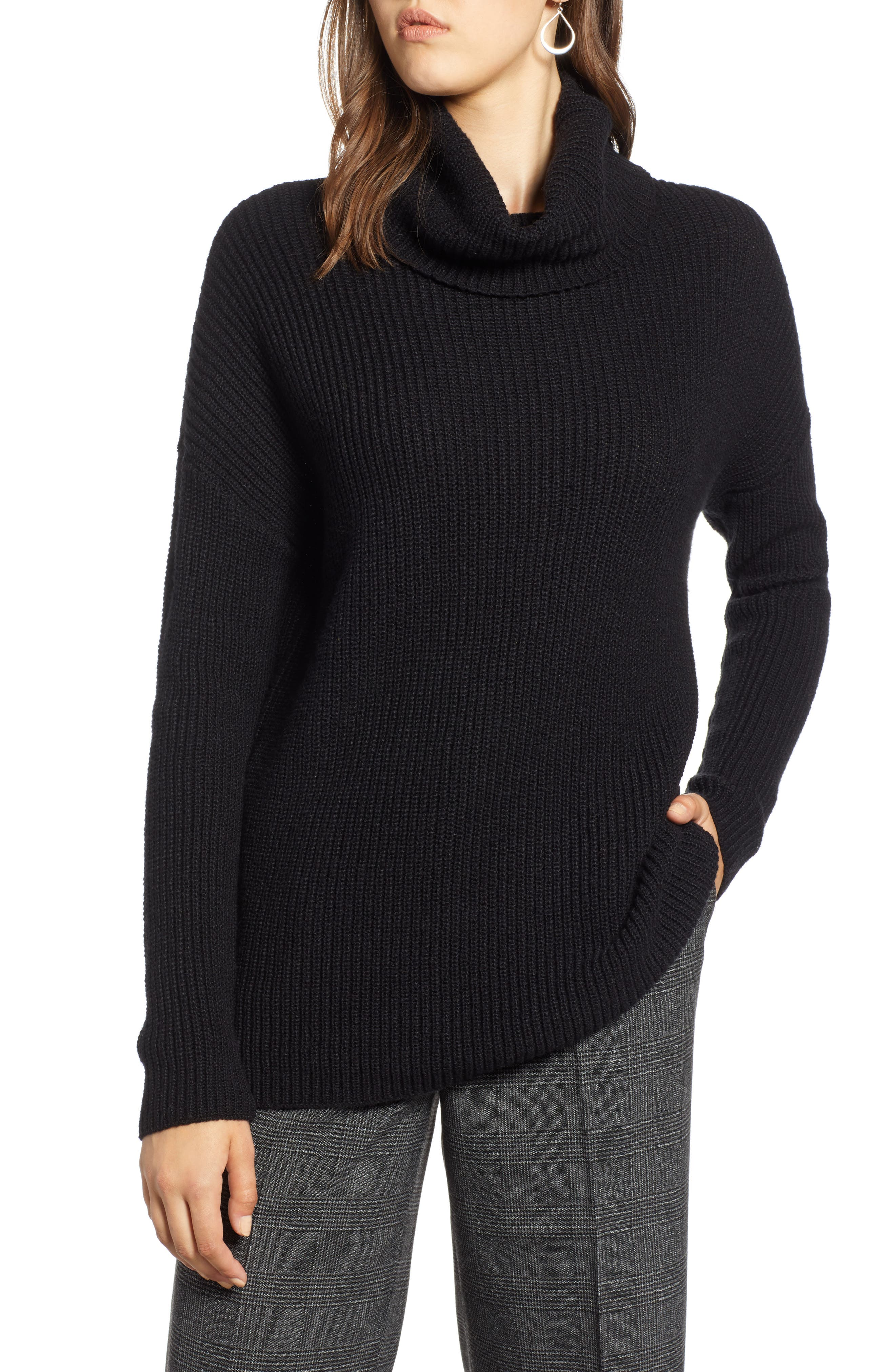 Oversized Turtleneck Tunic Sweater,                             Main thumbnail 1, color,                             001