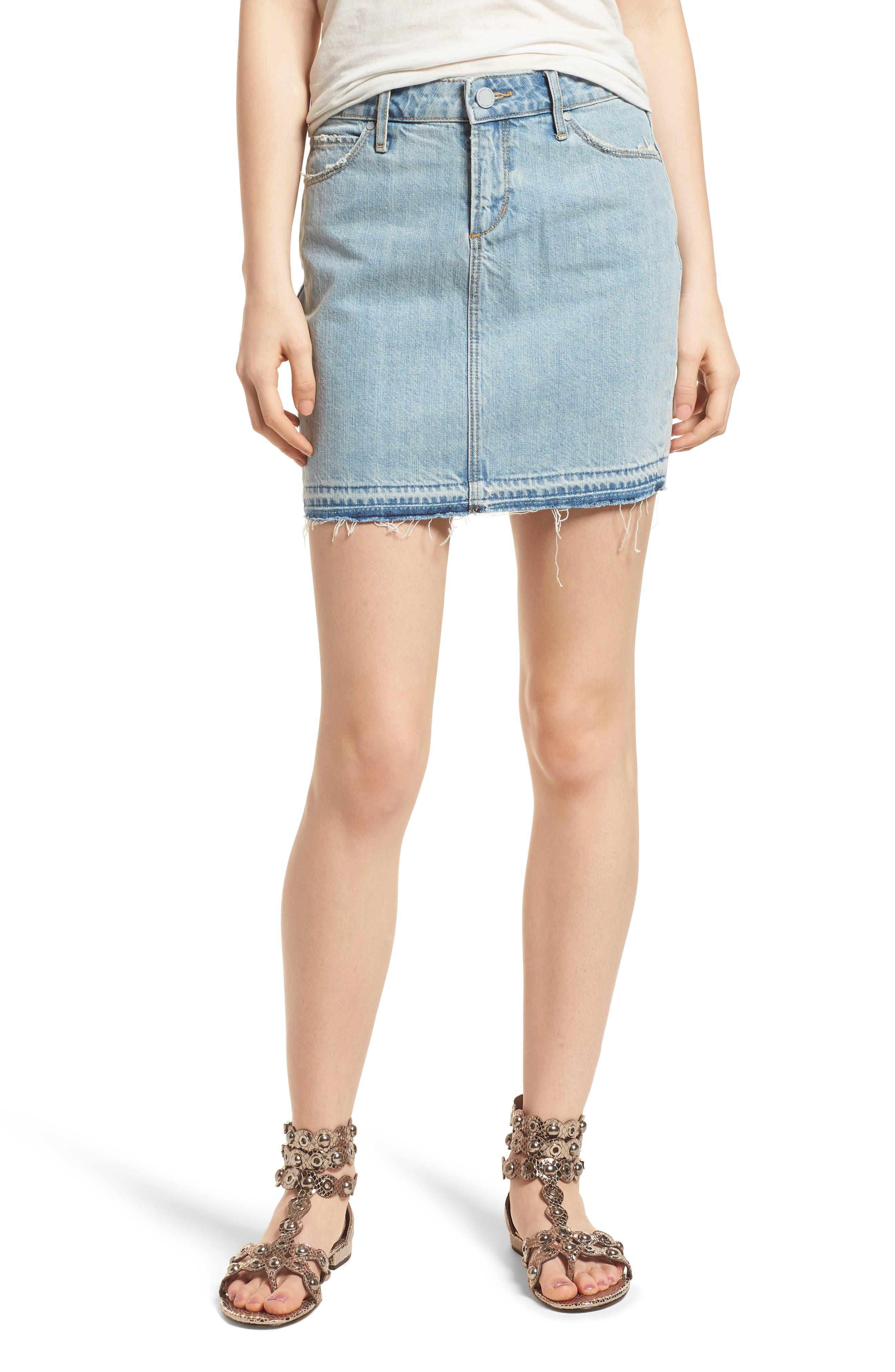 Stacy Release Hem Denim Skirt,                             Main thumbnail 1, color,