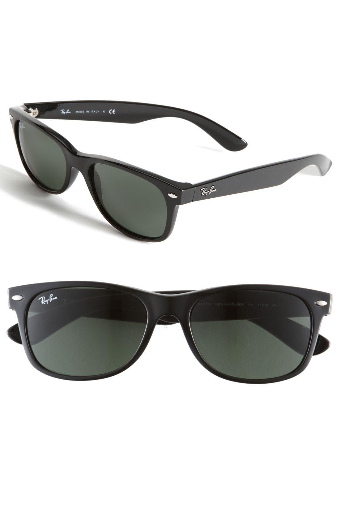 Standard New Wayfarer 55mm Sunglasses,                         Main,                         color, BLACK