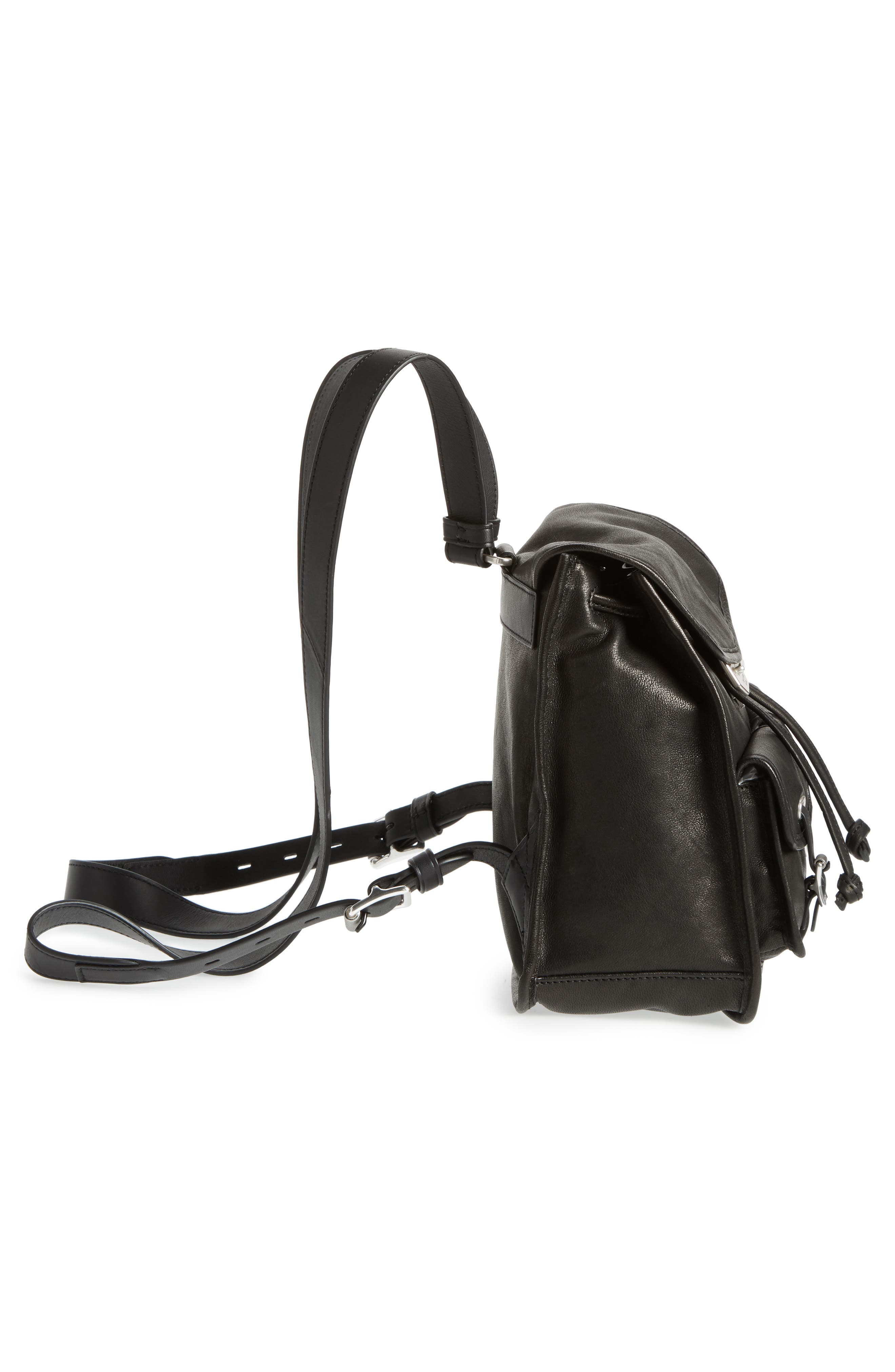 Small Leather Field Backpack,                             Alternate thumbnail 5, color,                             BLACK