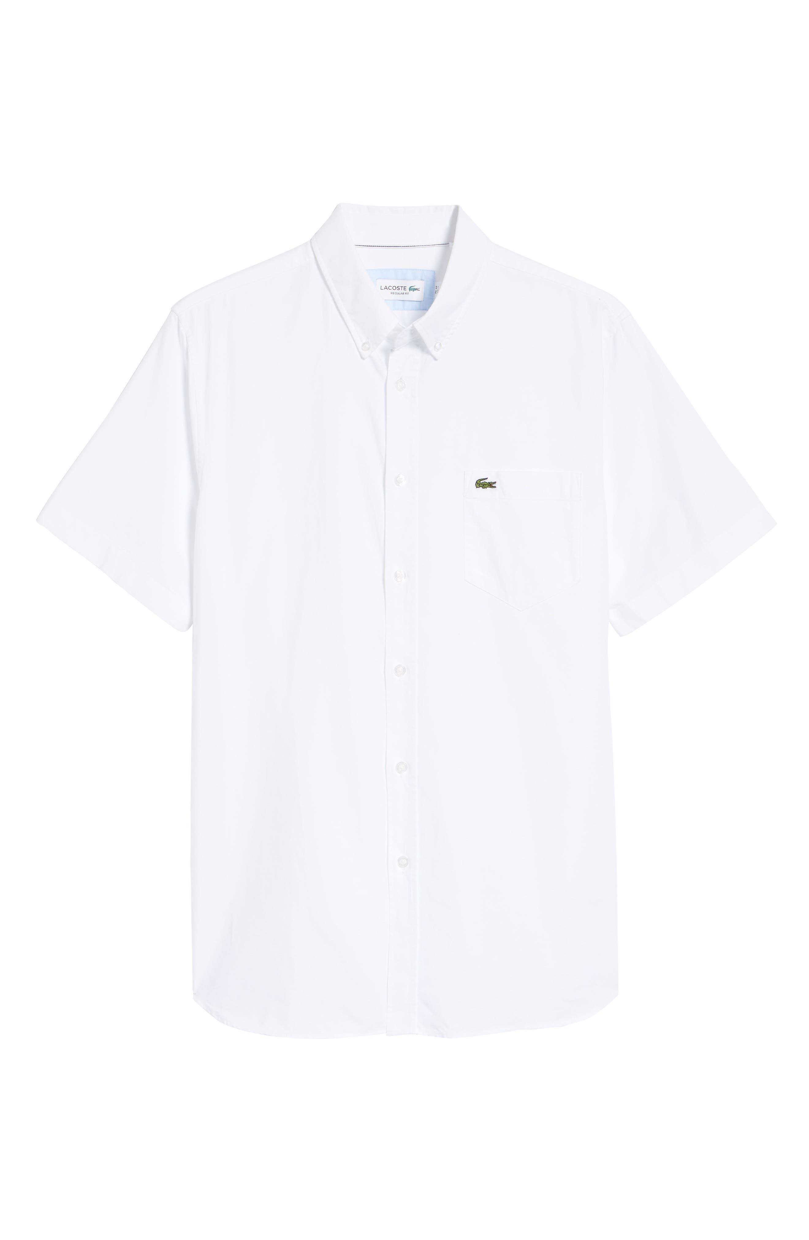 Regular Fit Short Sleeve Cotton Sport Shirt,                             Alternate thumbnail 5, color,                             WHITE