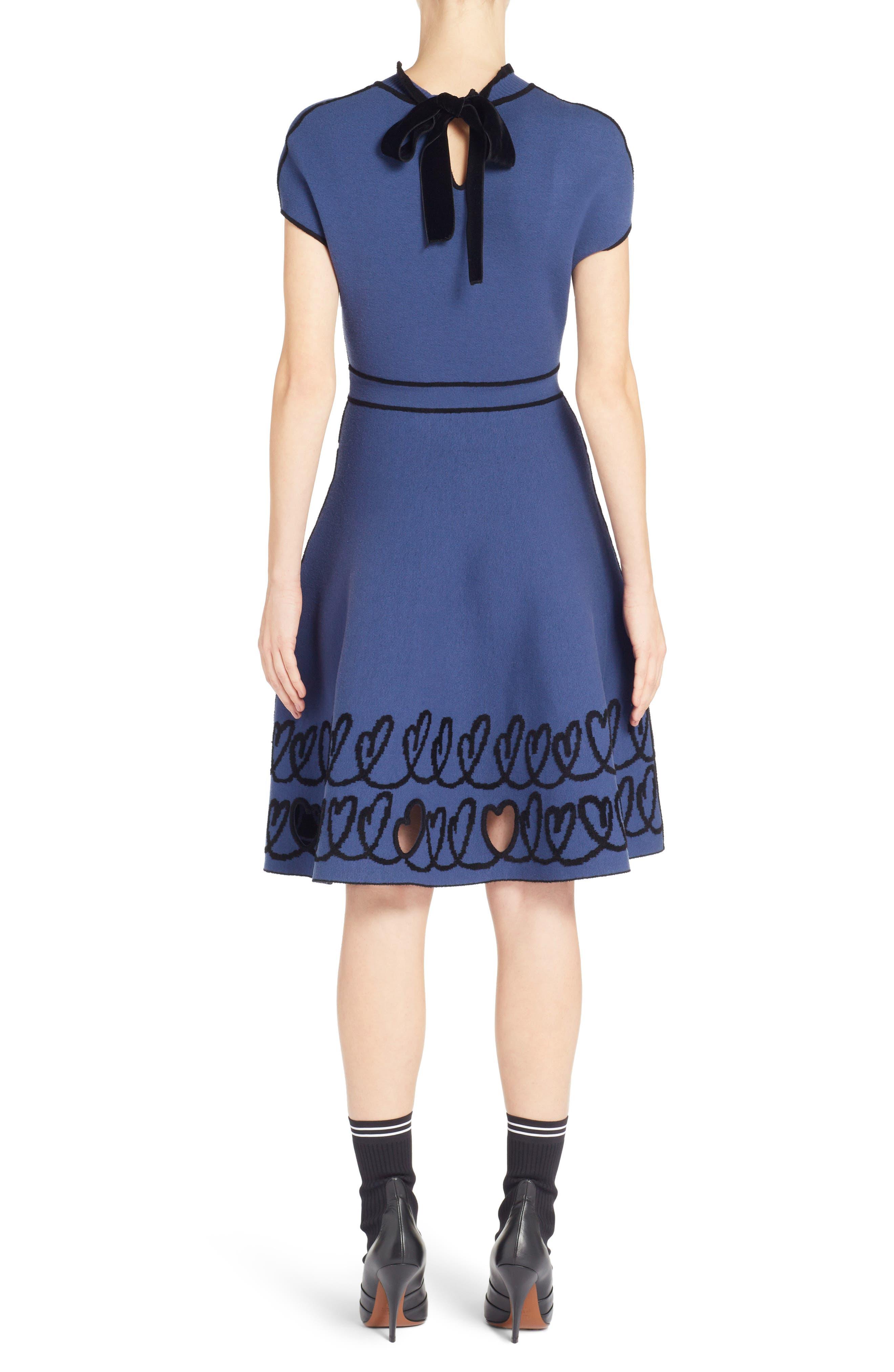 Cutout Heart Reversible Fit & Flare Dress,                             Alternate thumbnail 2, color,                             BLUE