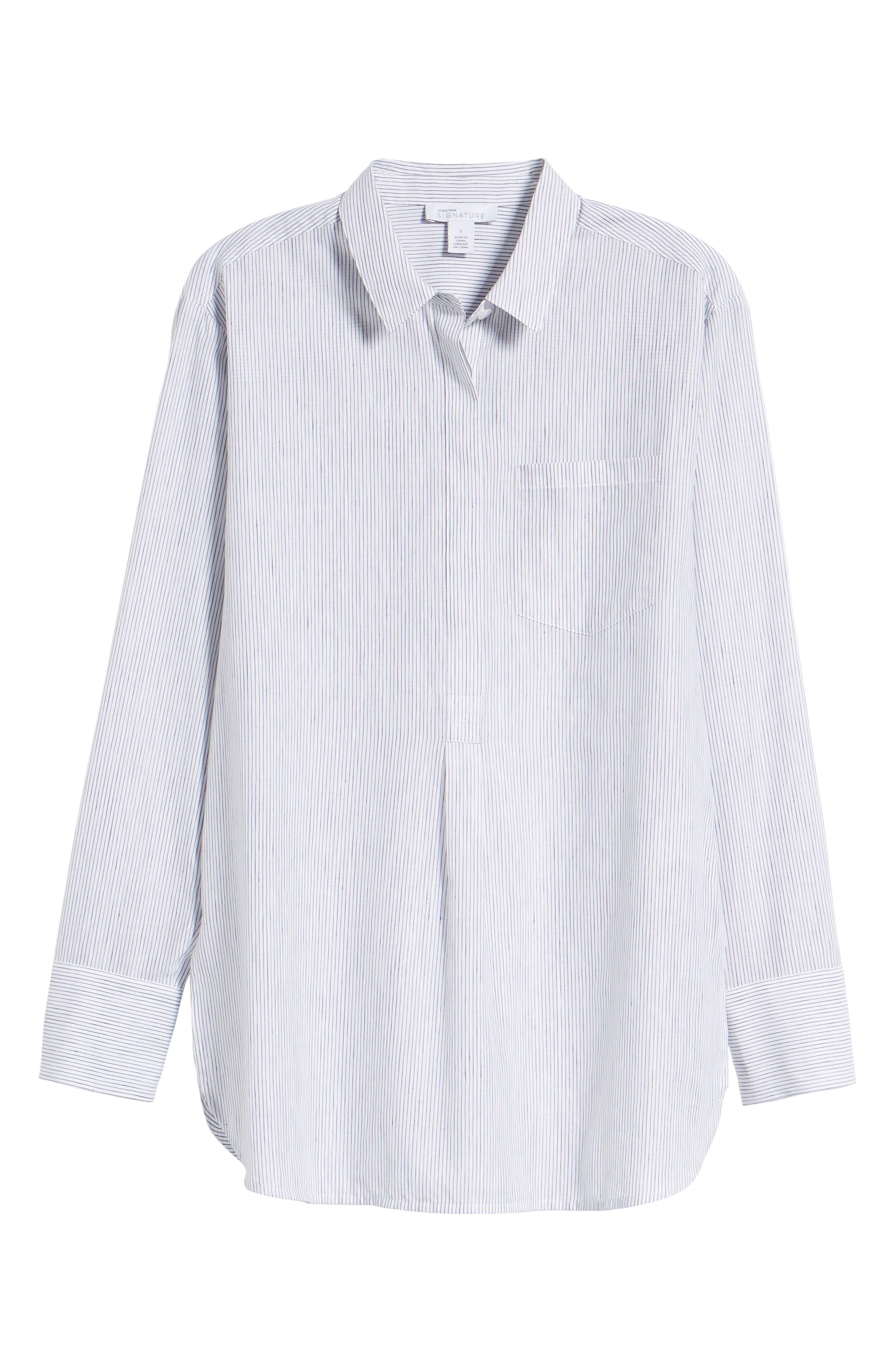 Stripe Popover Shirt,                             Alternate thumbnail 7, color,                             100