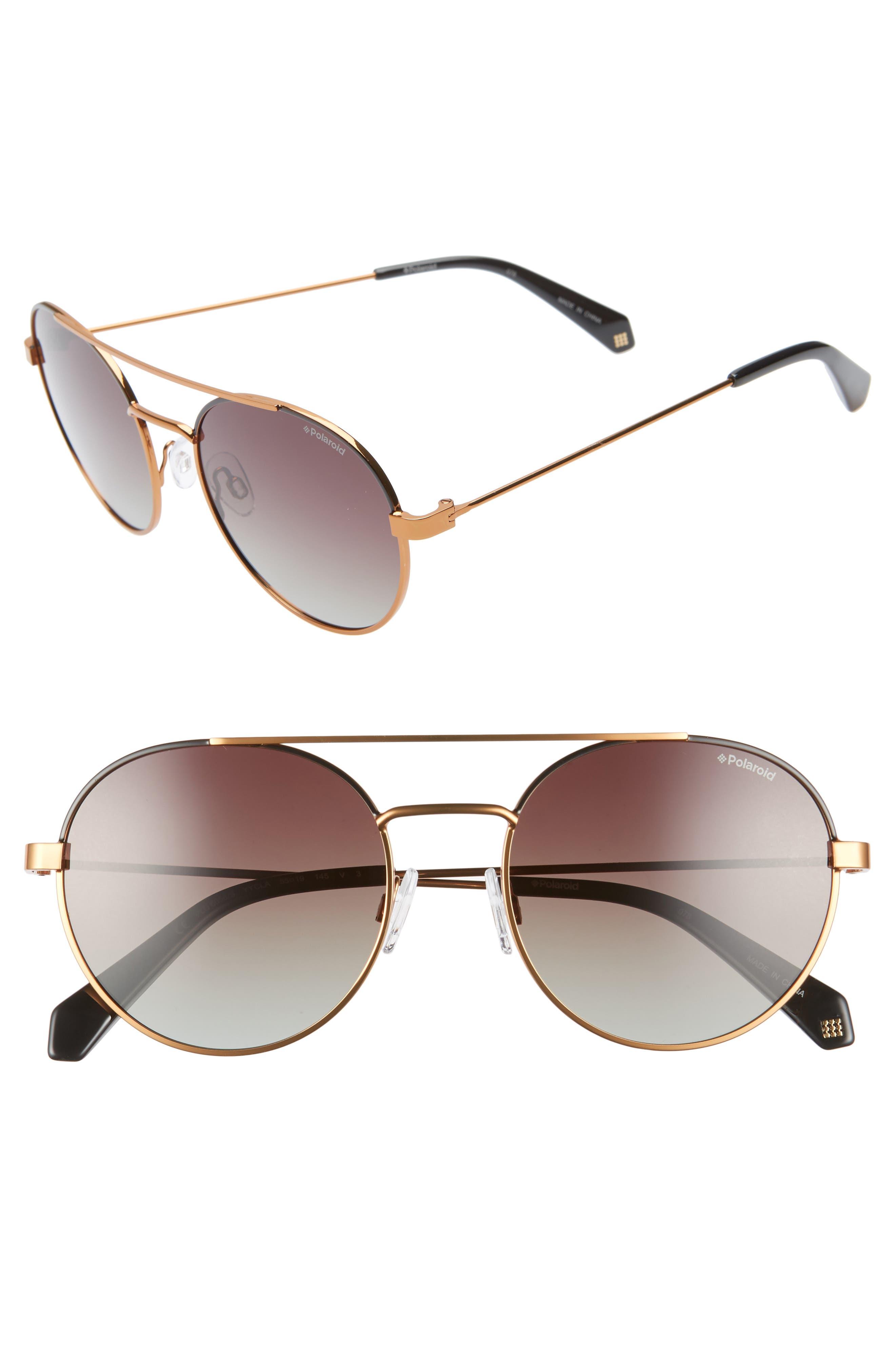 Polaroid 55Mm Polarized Round Aviator Sunglasses - Black Gold Bronze