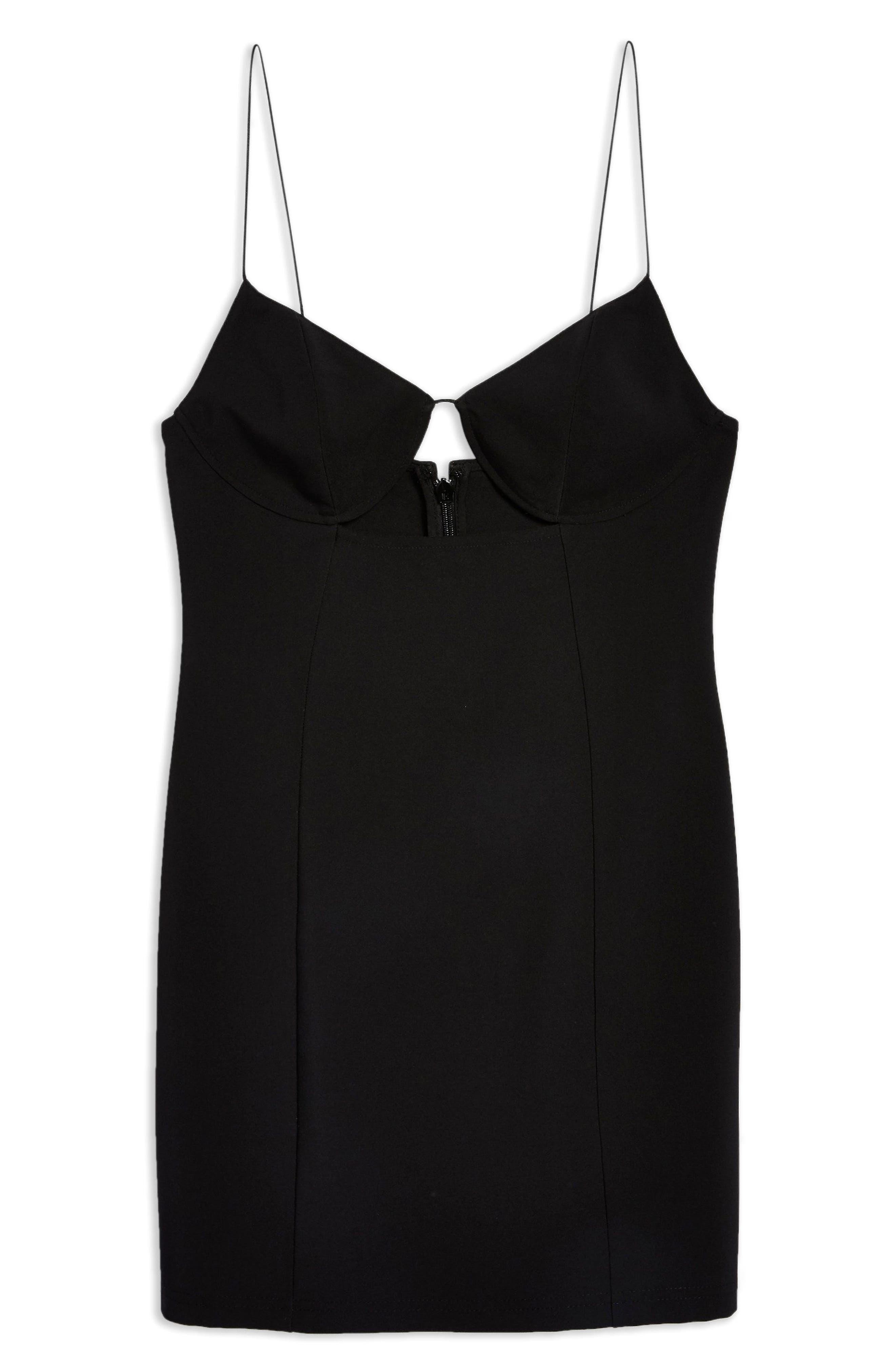 Deconstructed Bralet Body-Con Minidress,                             Alternate thumbnail 4, color,                             BLACK
