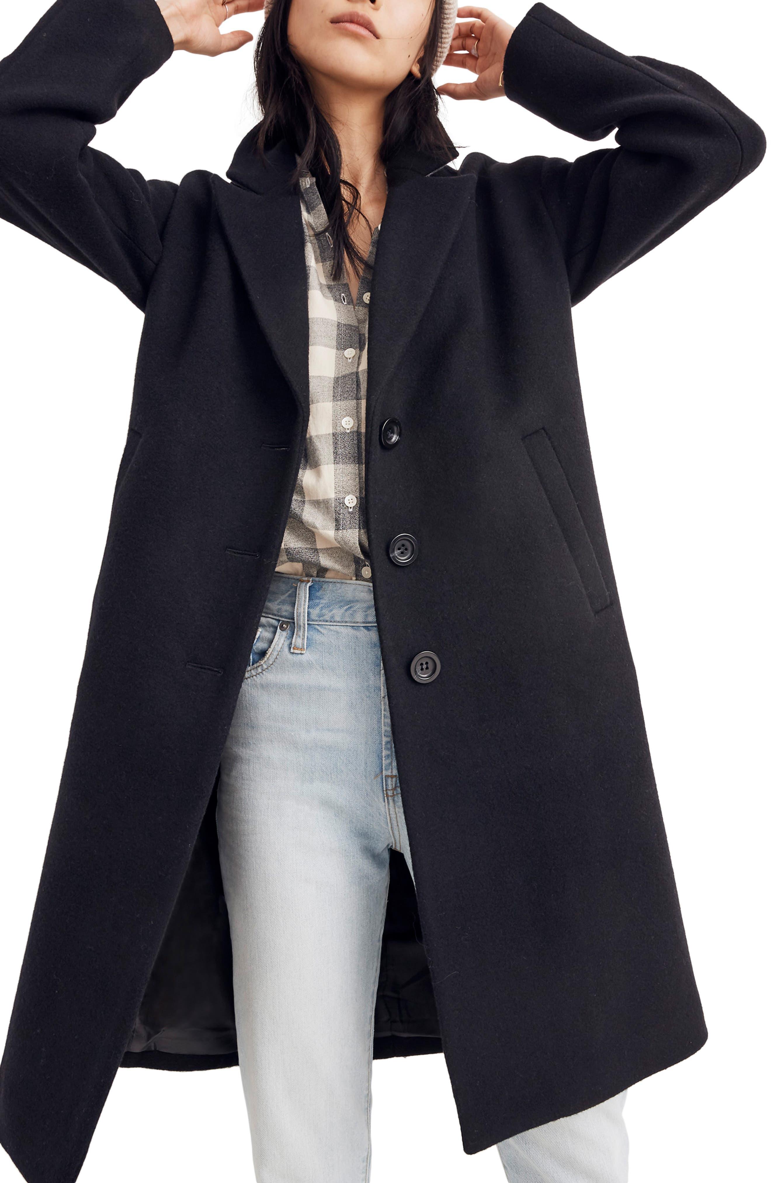 Bergen Cocoon Coat,                             Main thumbnail 1, color,                             TRUE BLACK