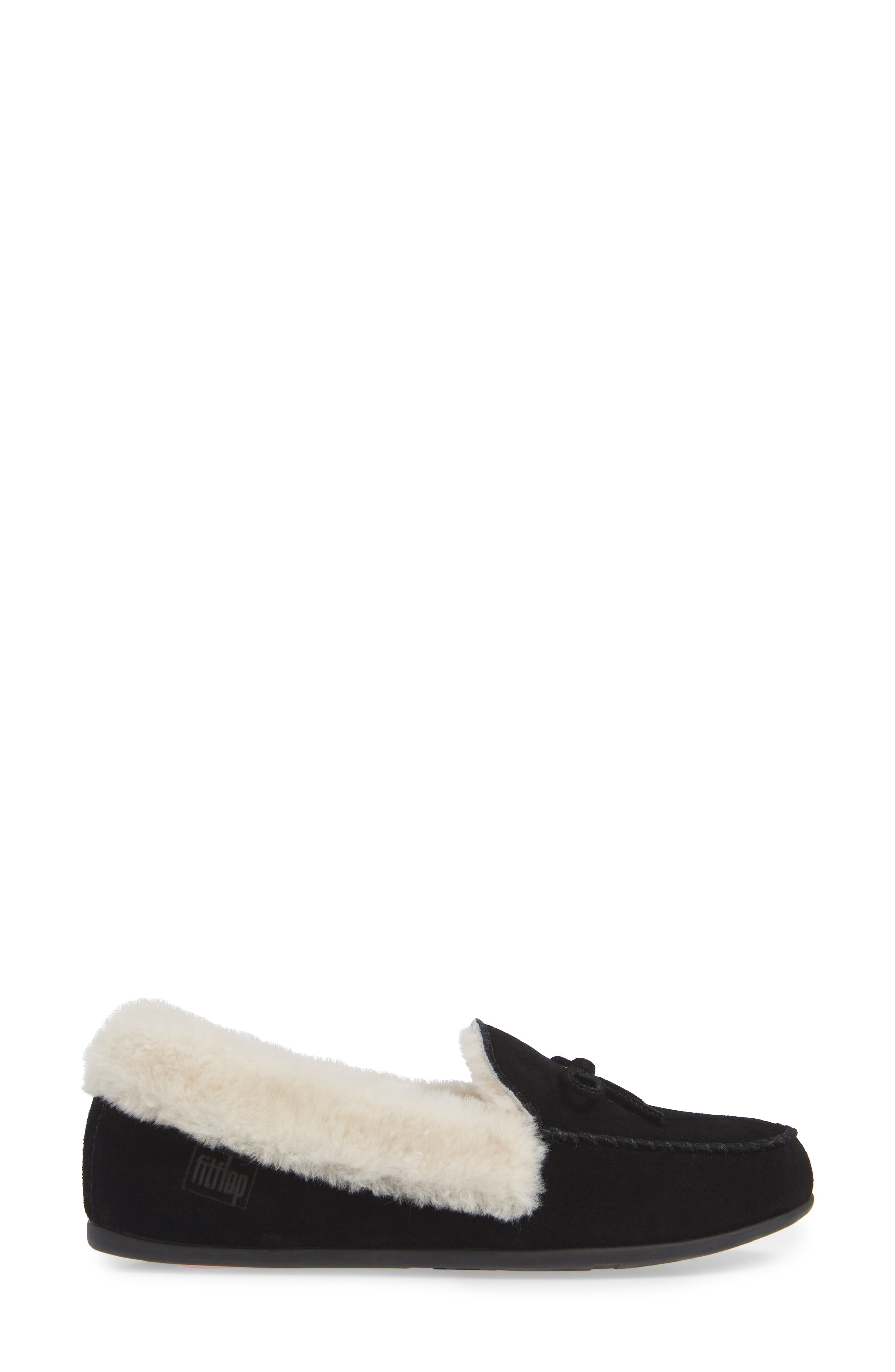 Clara Genuine Shearling Lined Moccasin,                             Alternate thumbnail 3, color,                             BLACK SUEDE