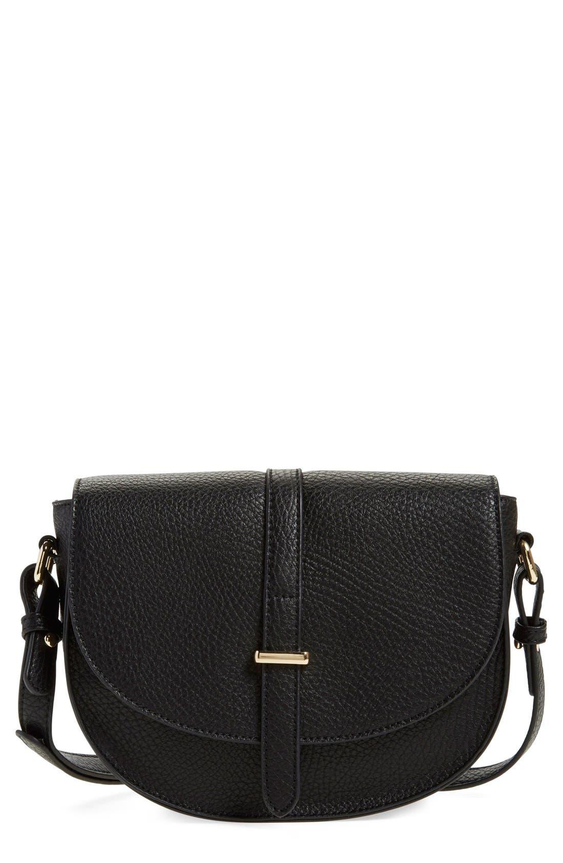 Faux Leather Saddle Crossbody Bag,                         Main,                         color, 001