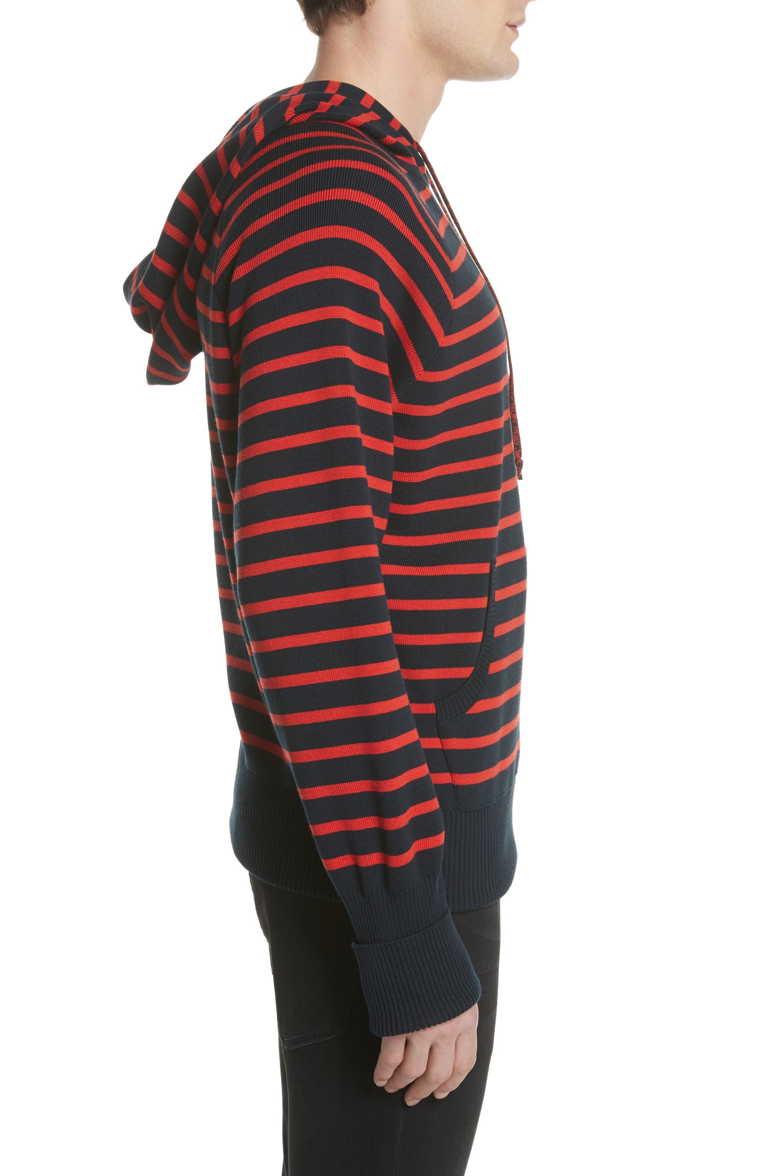 Stripe Wool Blend Hoodie,                             Alternate thumbnail 3, color,