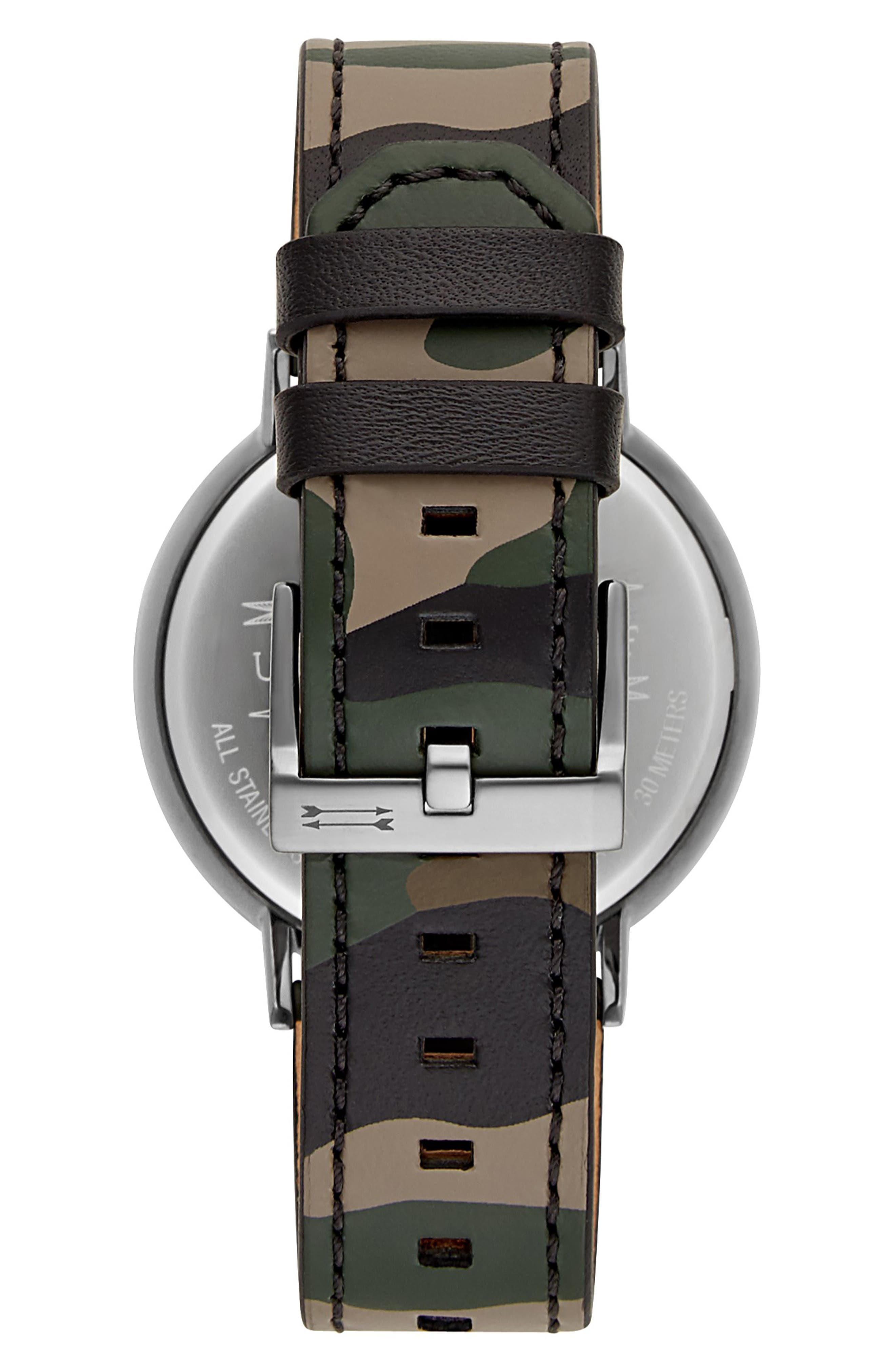 URI MINKOFF,                             Griffith Leather Strap Watch, 43mm,                             Alternate thumbnail 2, color,                             CAMO/ BLACK/ GUNMETAL