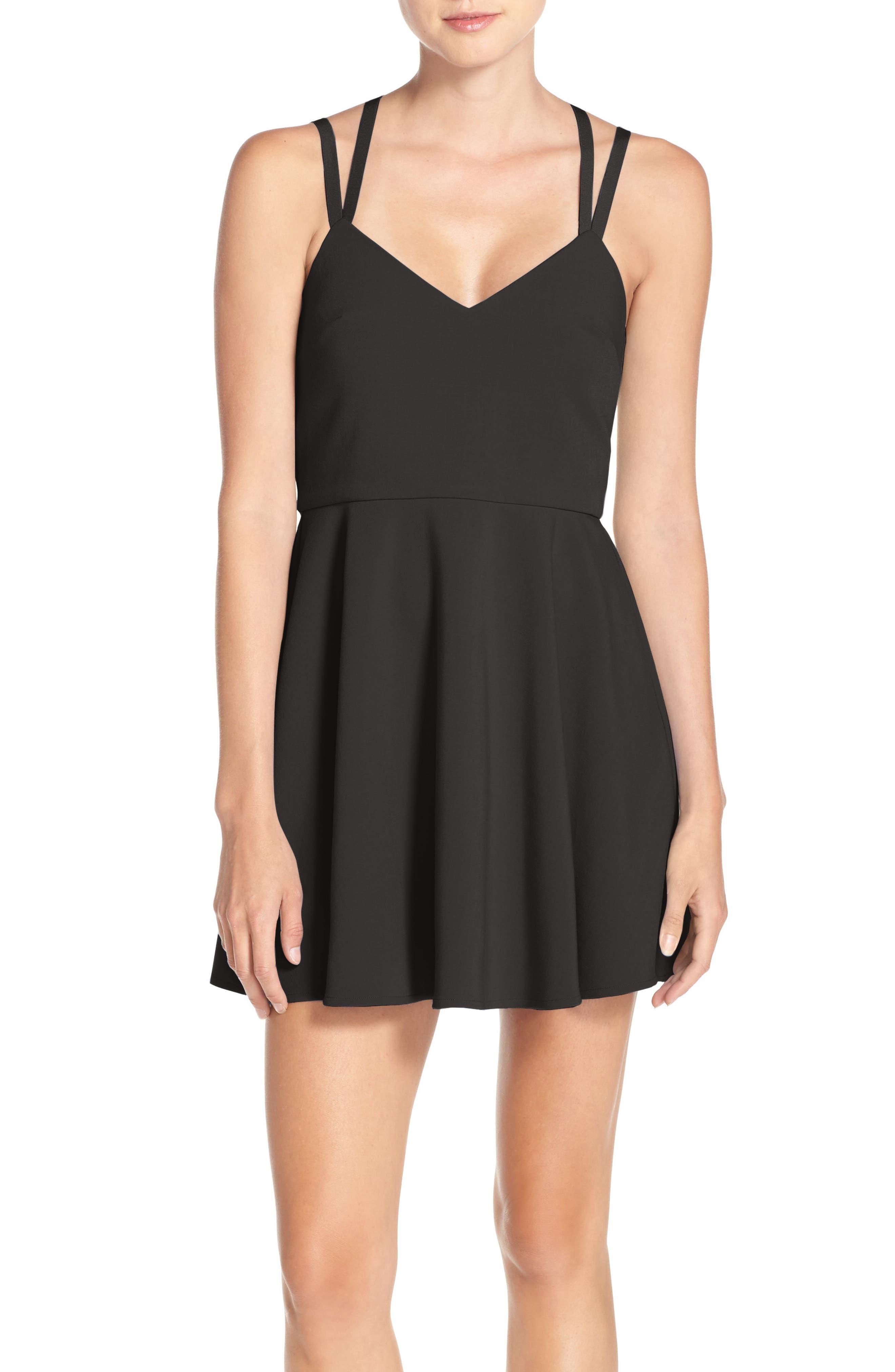 Whisper Light Fit & Flare Dress,                             Alternate thumbnail 9, color,                             BLACK