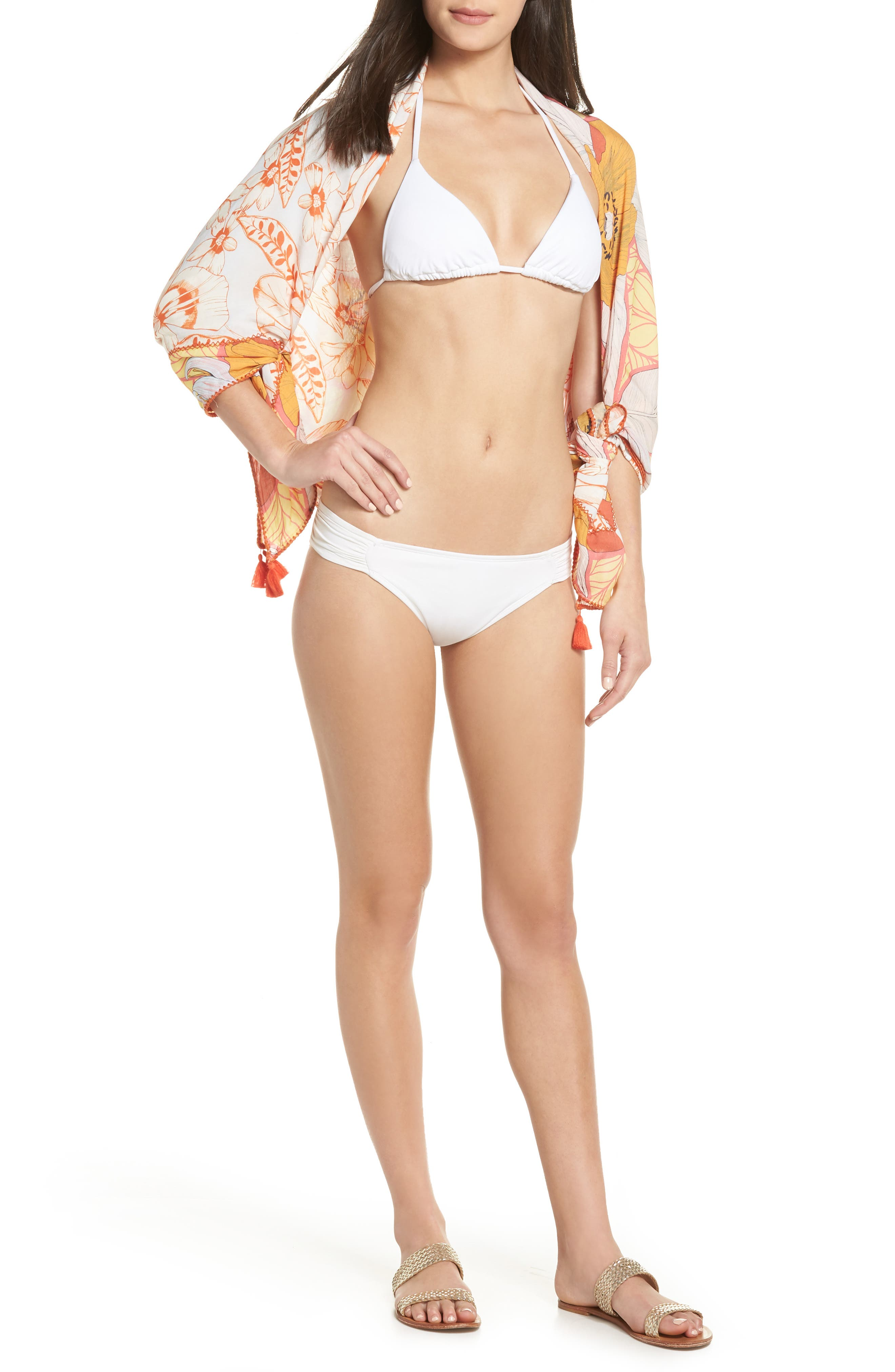 Mellow Yellow Leaf Pattern Pareo Cover-Up,                             Alternate thumbnail 3, color,                             700
