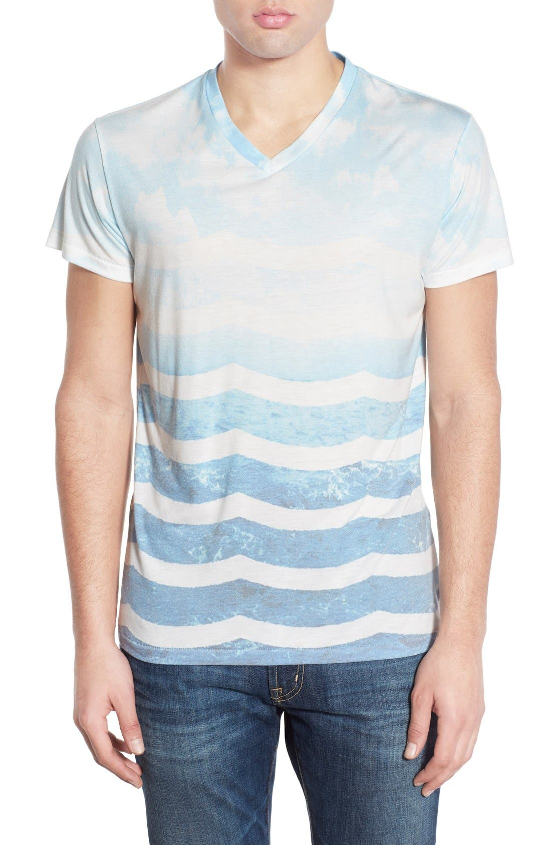 SOL ANGELES,                             'Marine Layer' V-Neck T-Shirt,                             Main thumbnail 1, color,                             482
