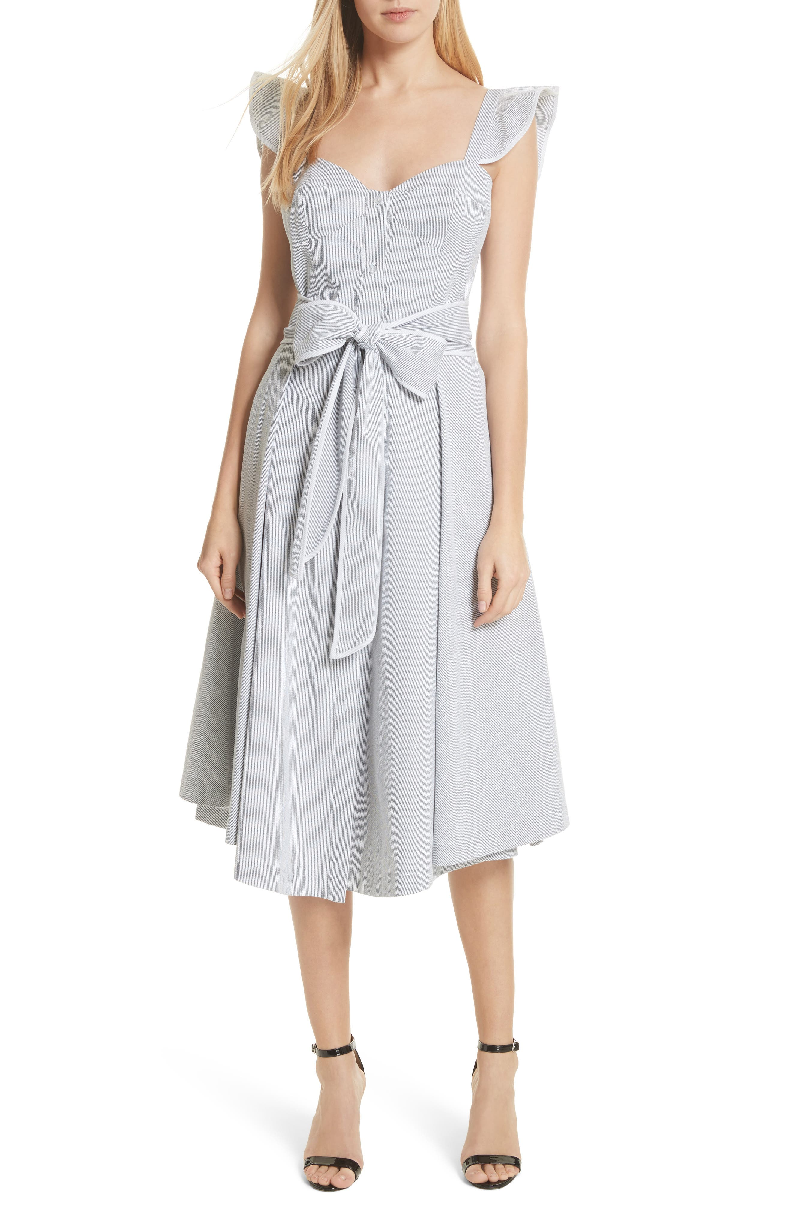 Ruffle Seersucker A-Line Dress,                             Main thumbnail 1, color,                             001