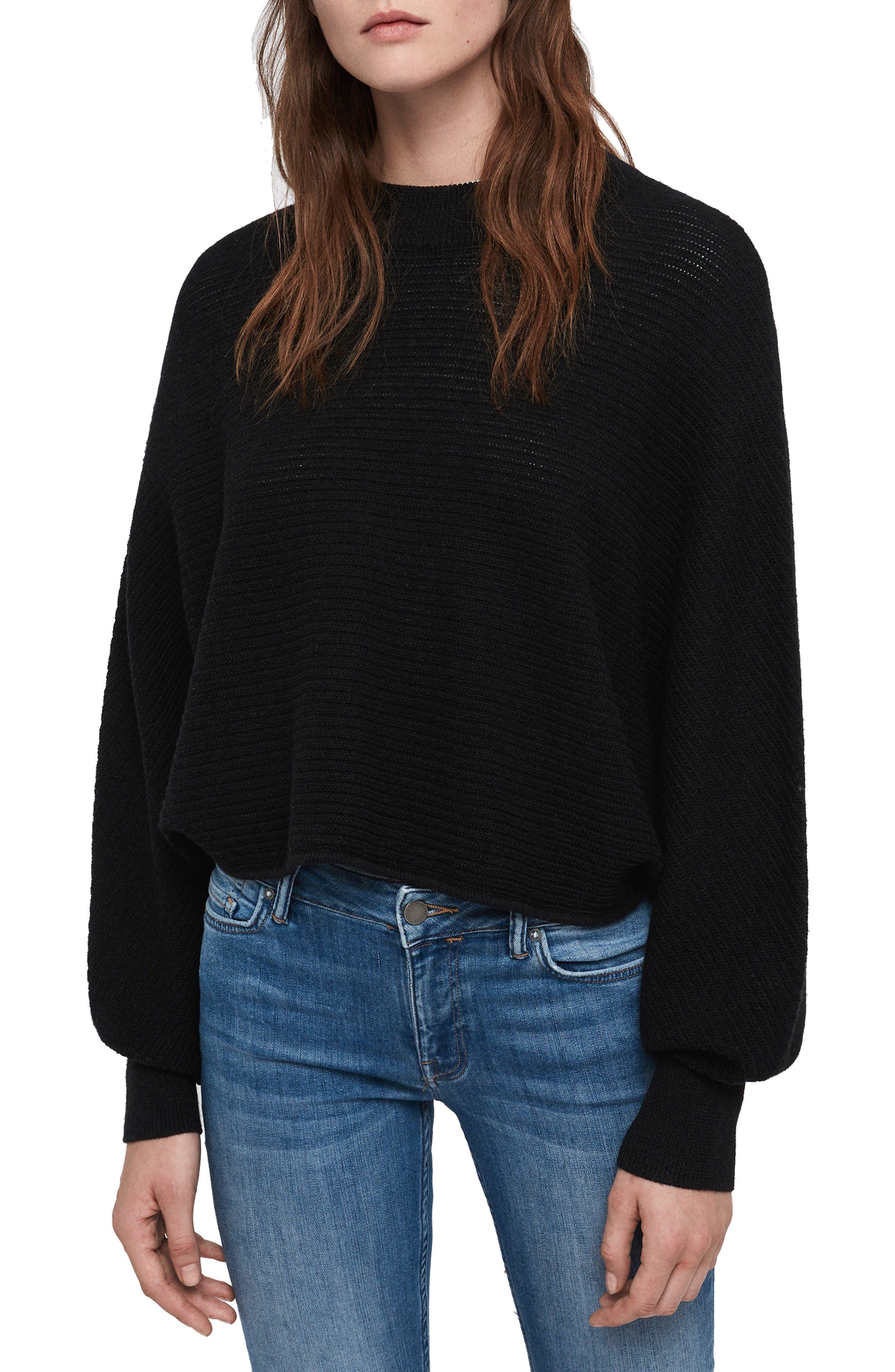 Allsaints Gene Blouson Merino Wool Sweater, Black