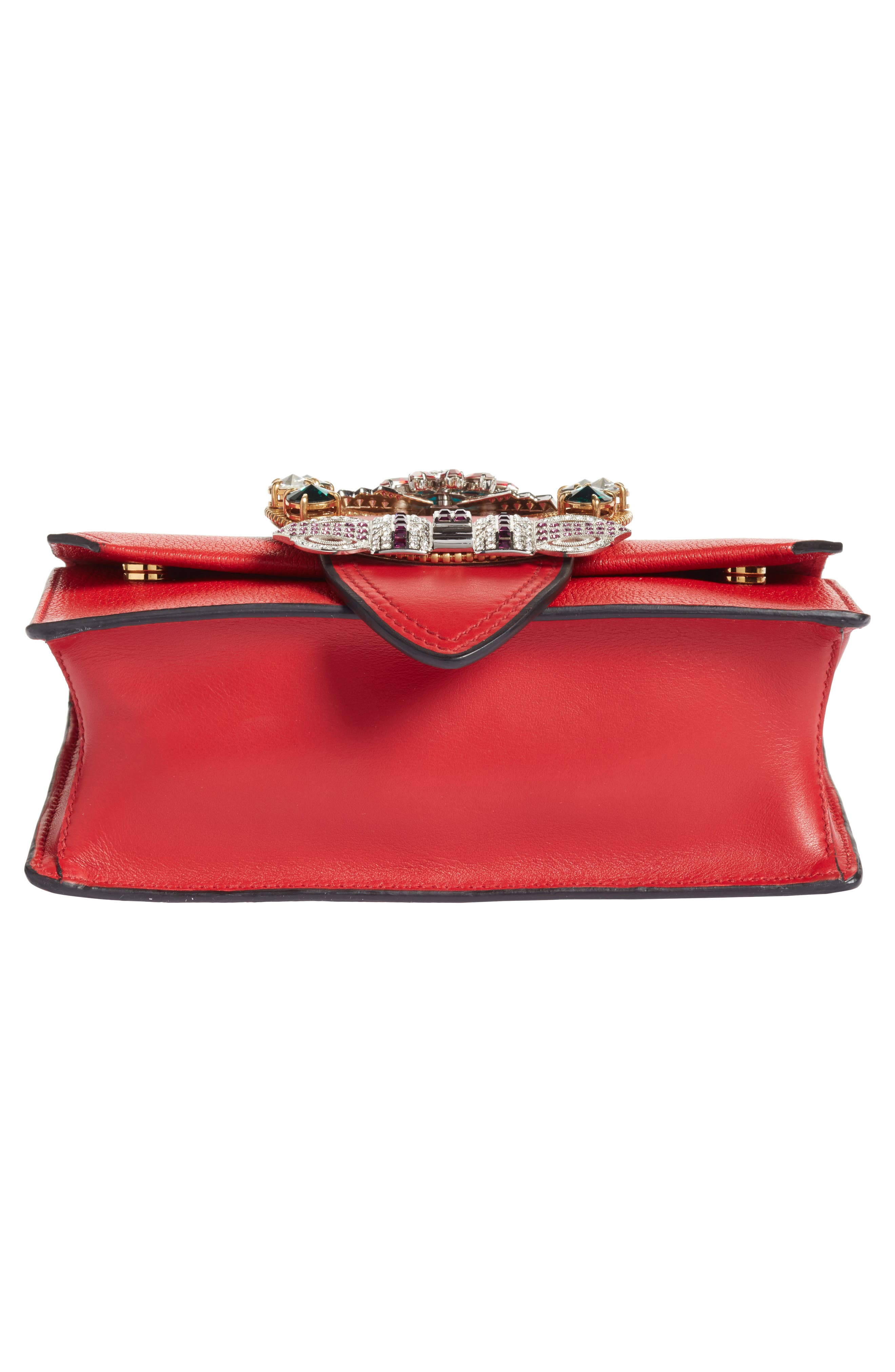 Madras Crystal Embellished Leather Shoulder Bag,                             Alternate thumbnail 6, color,                             FUOCO