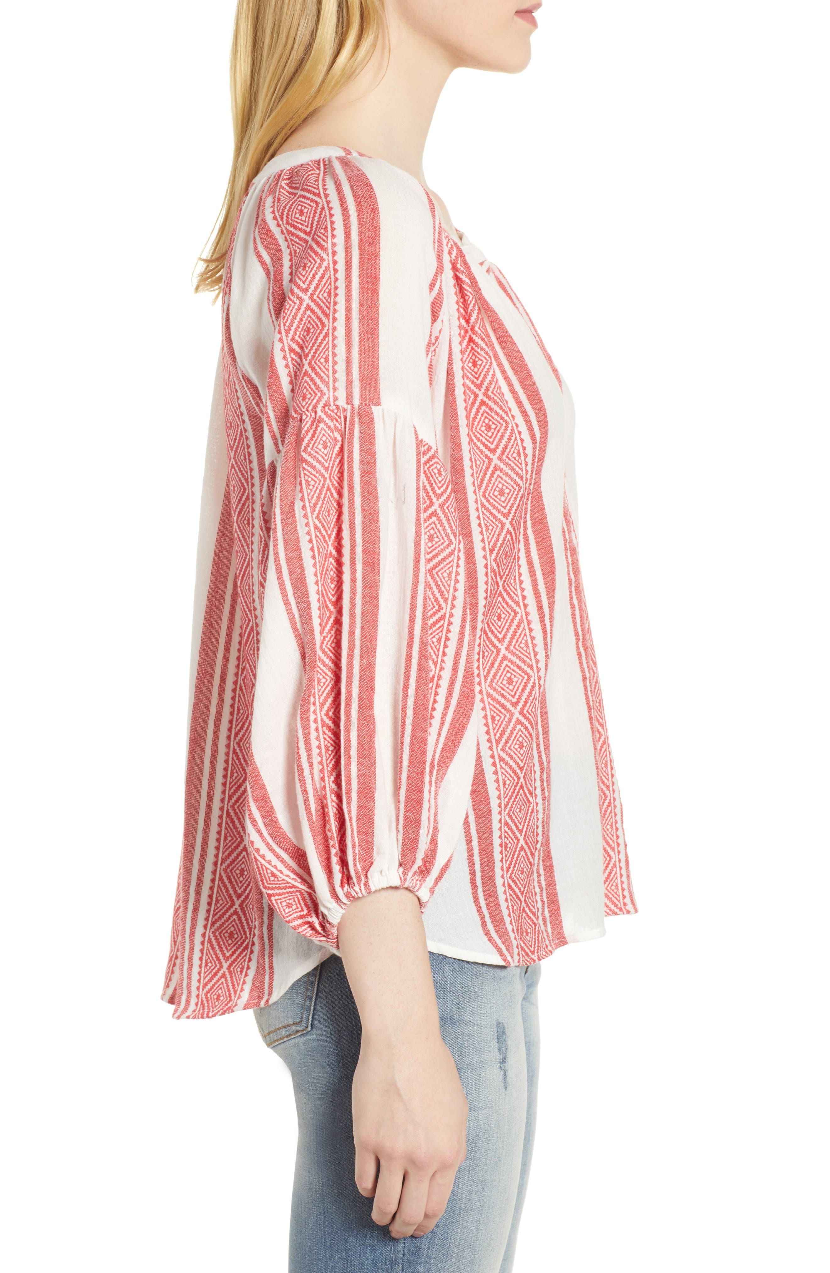 Jacquard Stripe Peasant Blouse,                             Alternate thumbnail 6, color,