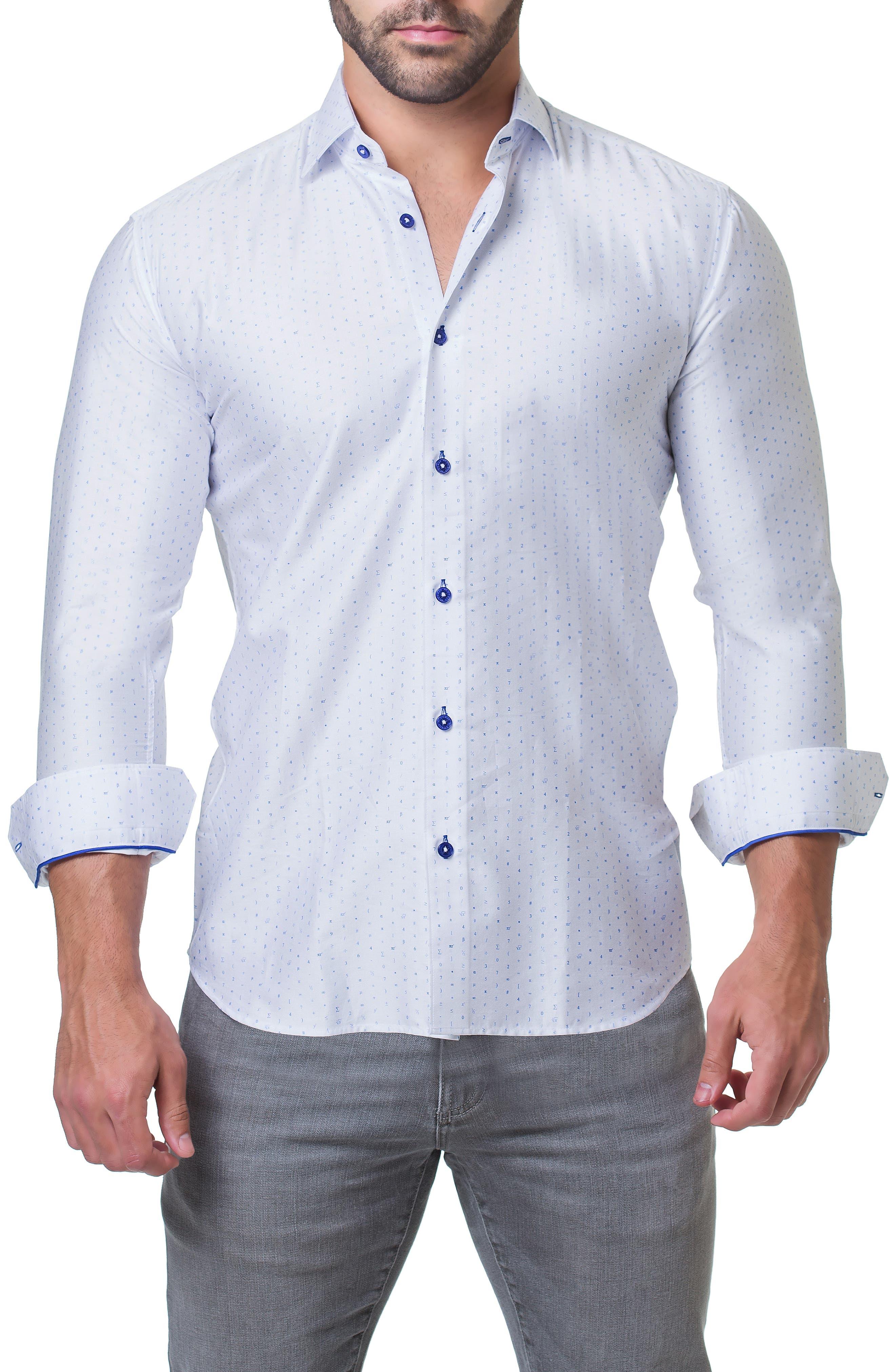 Fibonacci Math Trim Fit Print Sport Shirt,                             Alternate thumbnail 4, color,                             110