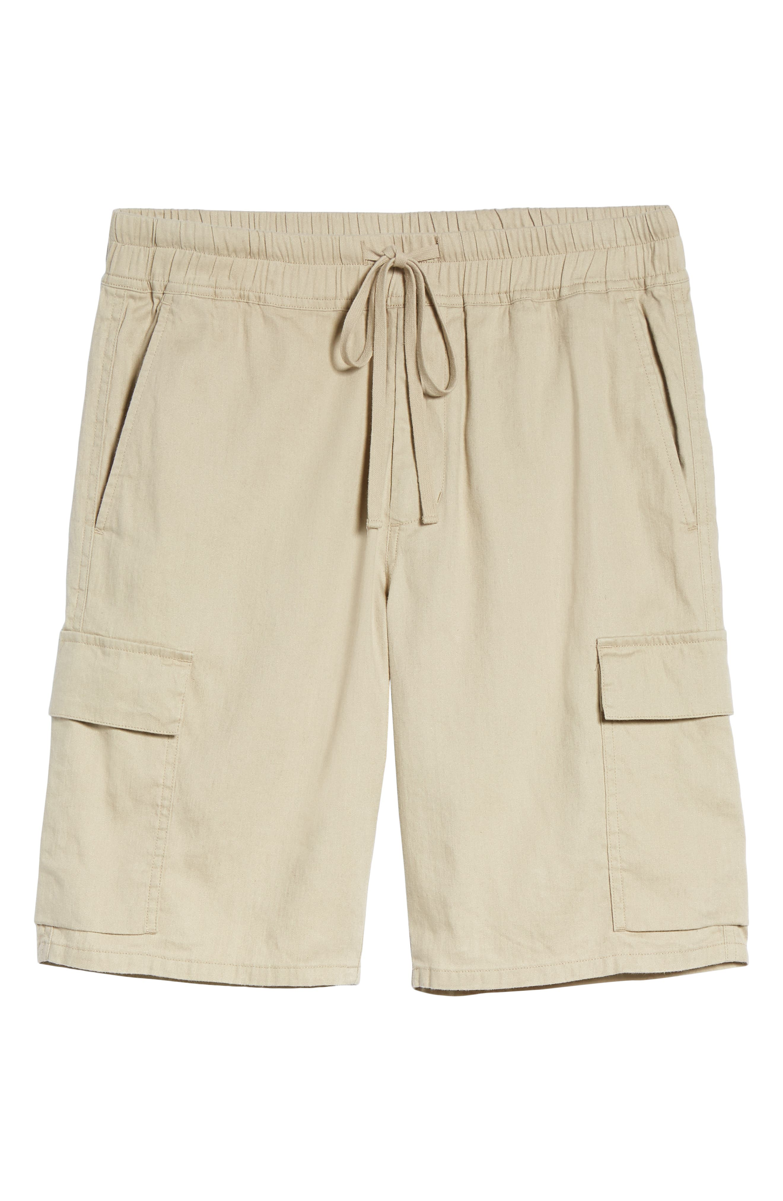 Stretch Linen & Cotton Cargo Shorts,                             Alternate thumbnail 6, color,                             FLAX