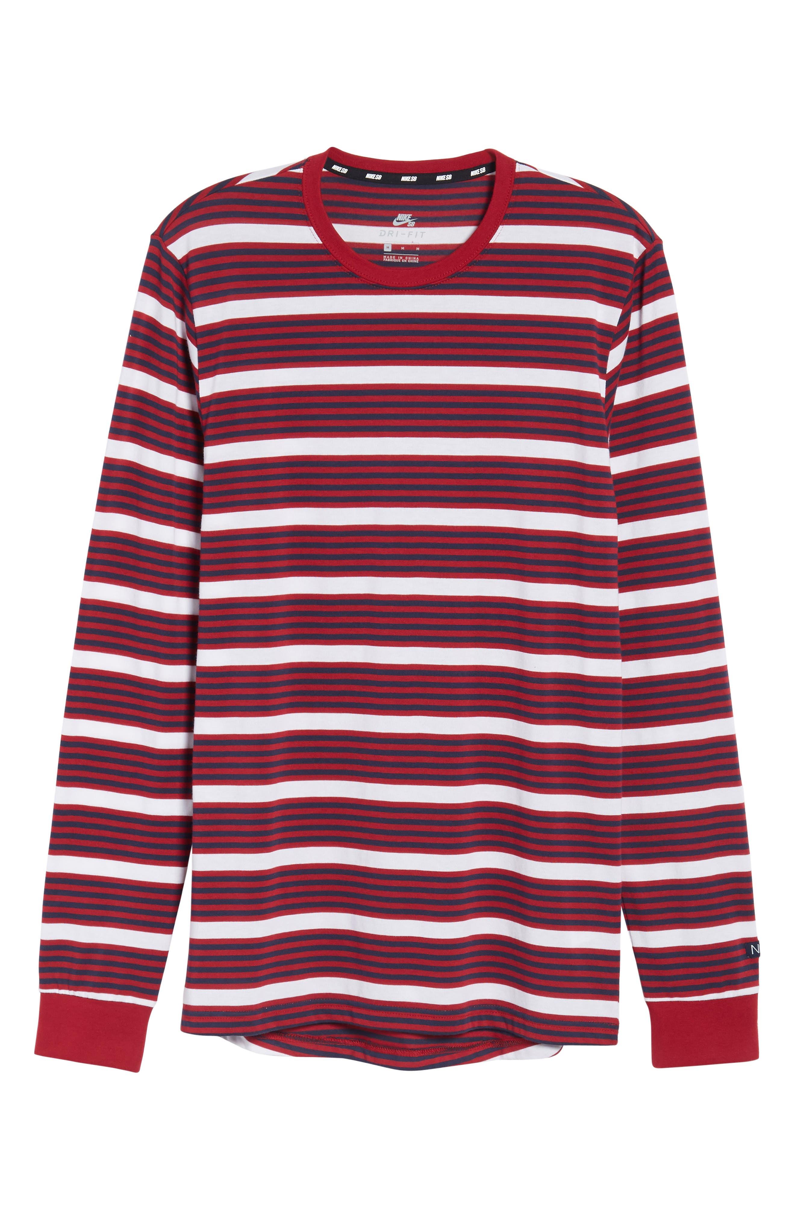 Dry Stripe Long Sleeve T-Shirt,                             Alternate thumbnail 6, color,                             RED CRUSH/ OBSIDIAN