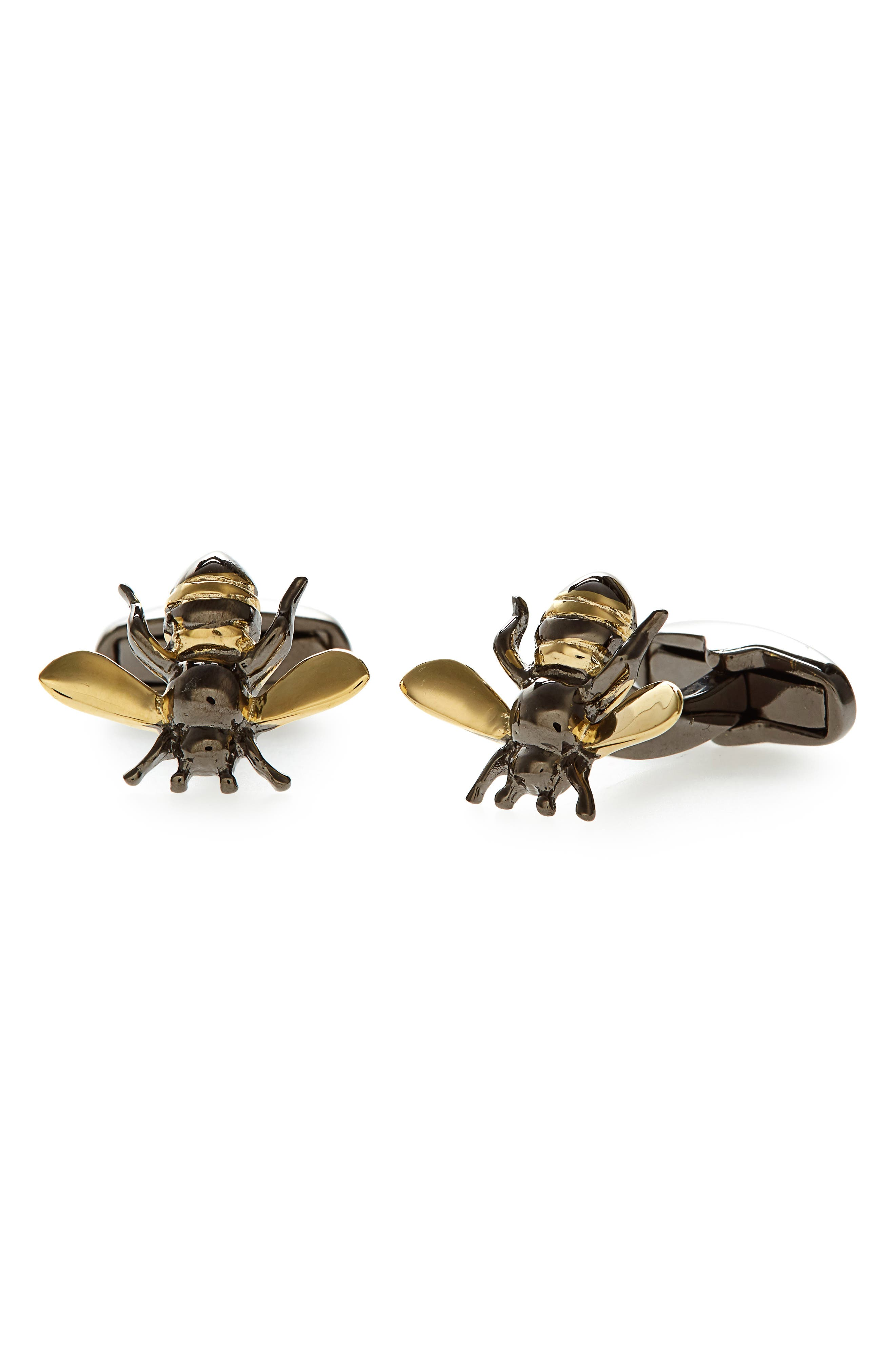 Gold Bee Cuff Links,                         Main,                         color, 710