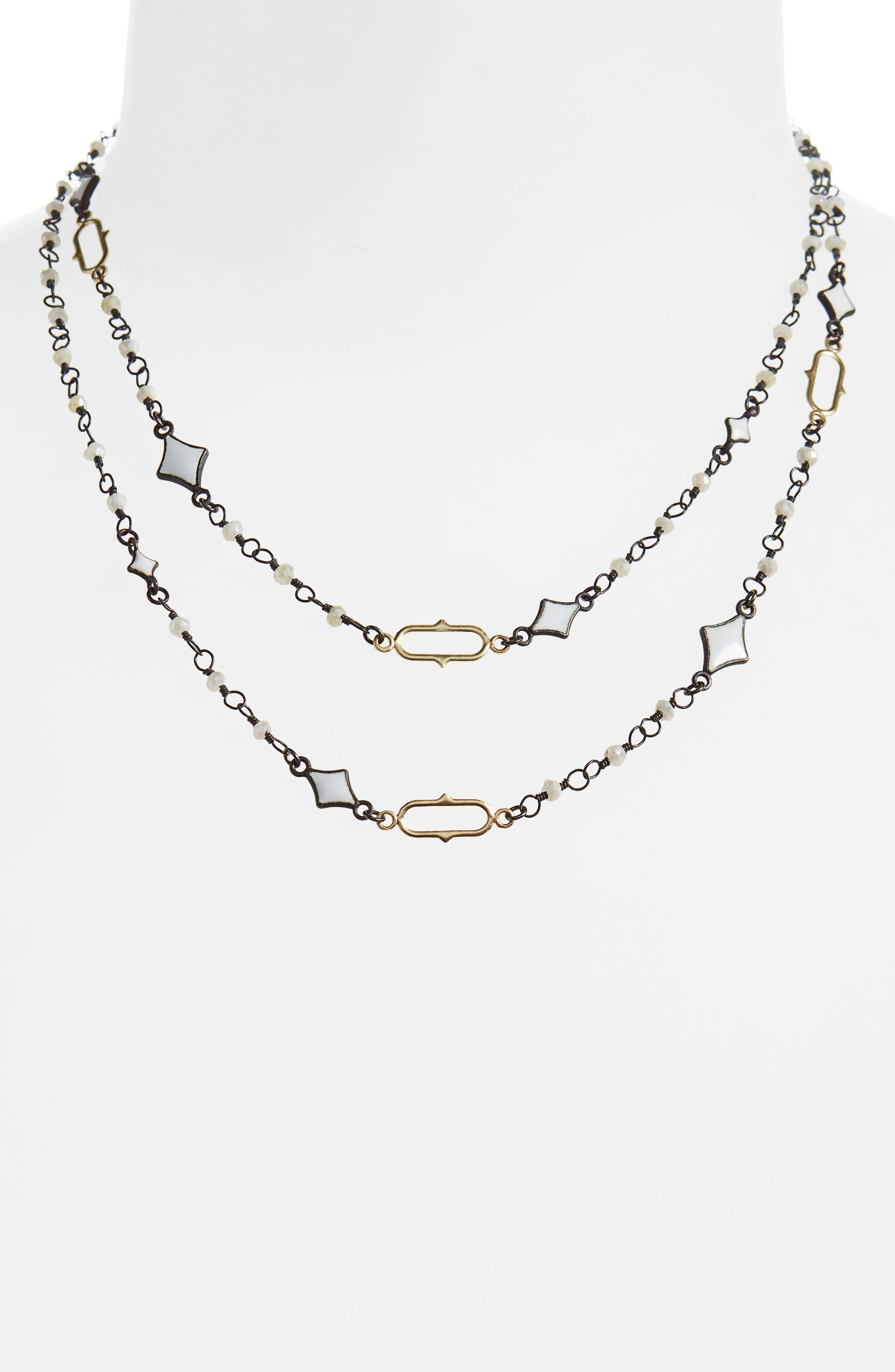 Old World Enamel Chain Necklace,                             Alternate thumbnail 2, color,                             BLACKENED SILVER