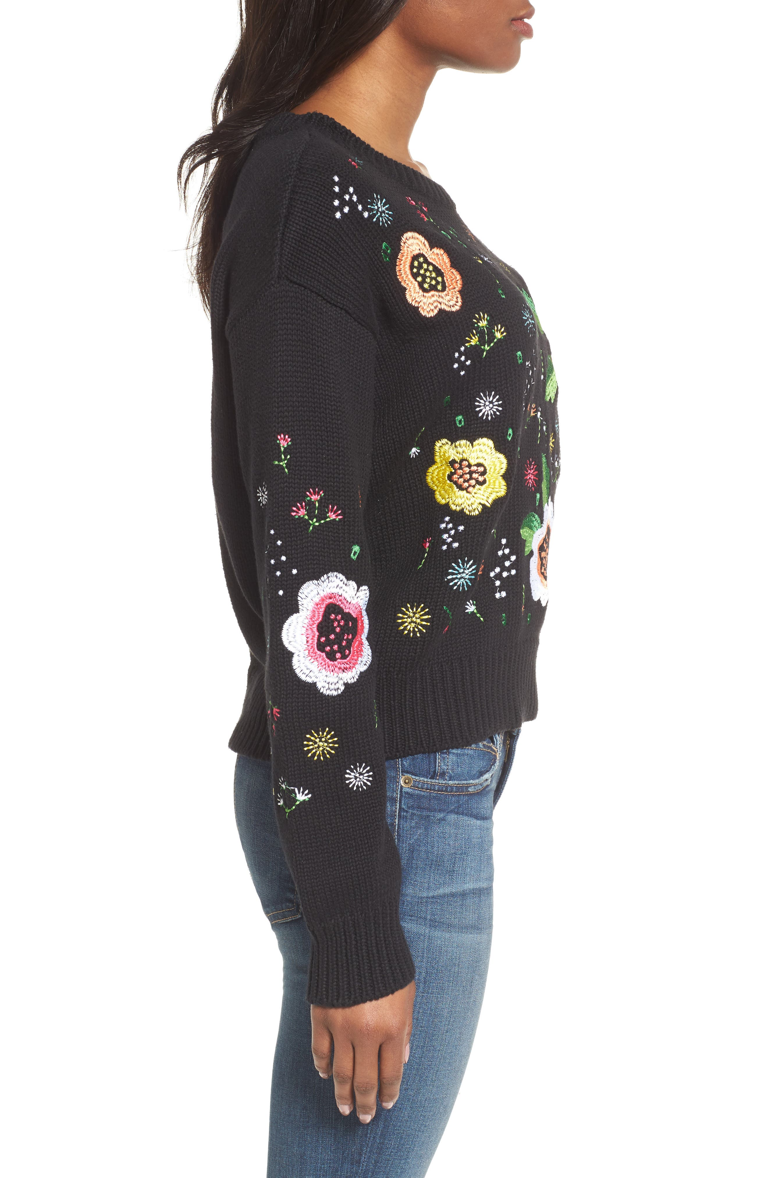 Floral Embroidered Sweater,                             Alternate thumbnail 3, color,                             001