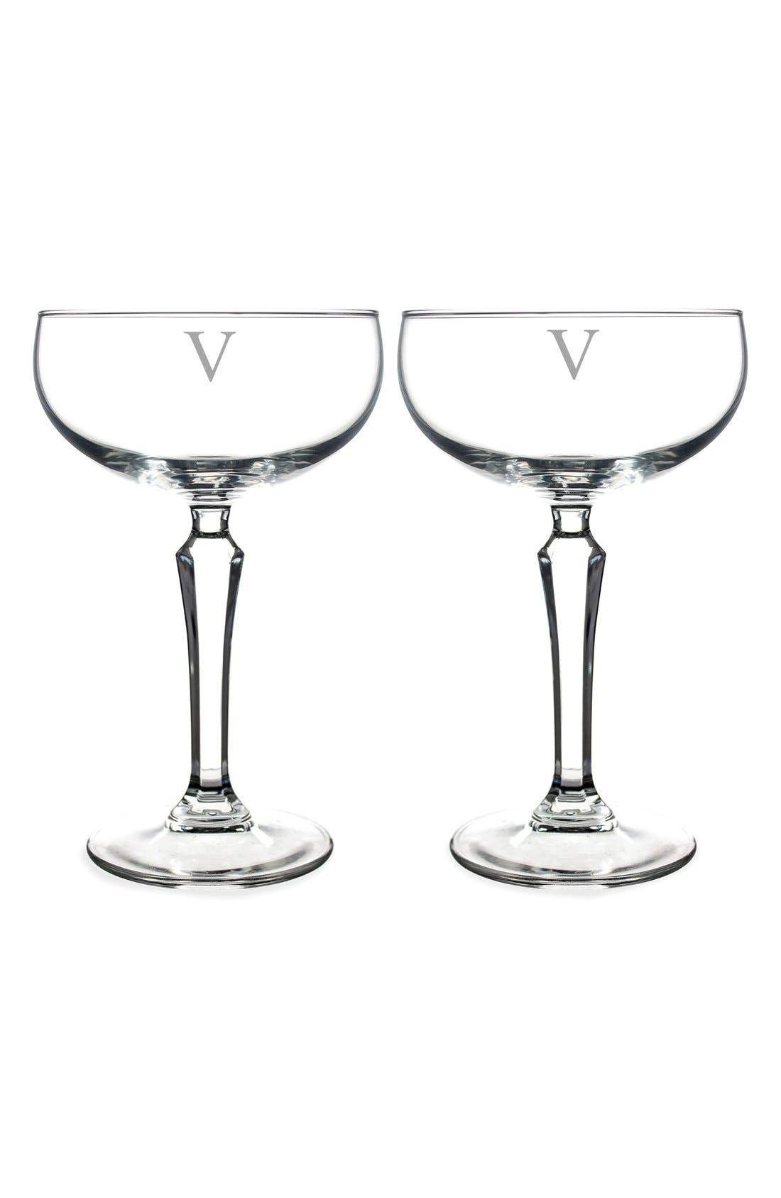 Monogram Coupe Cocktail/Champagne Glasses,                             Main thumbnail 24, color,