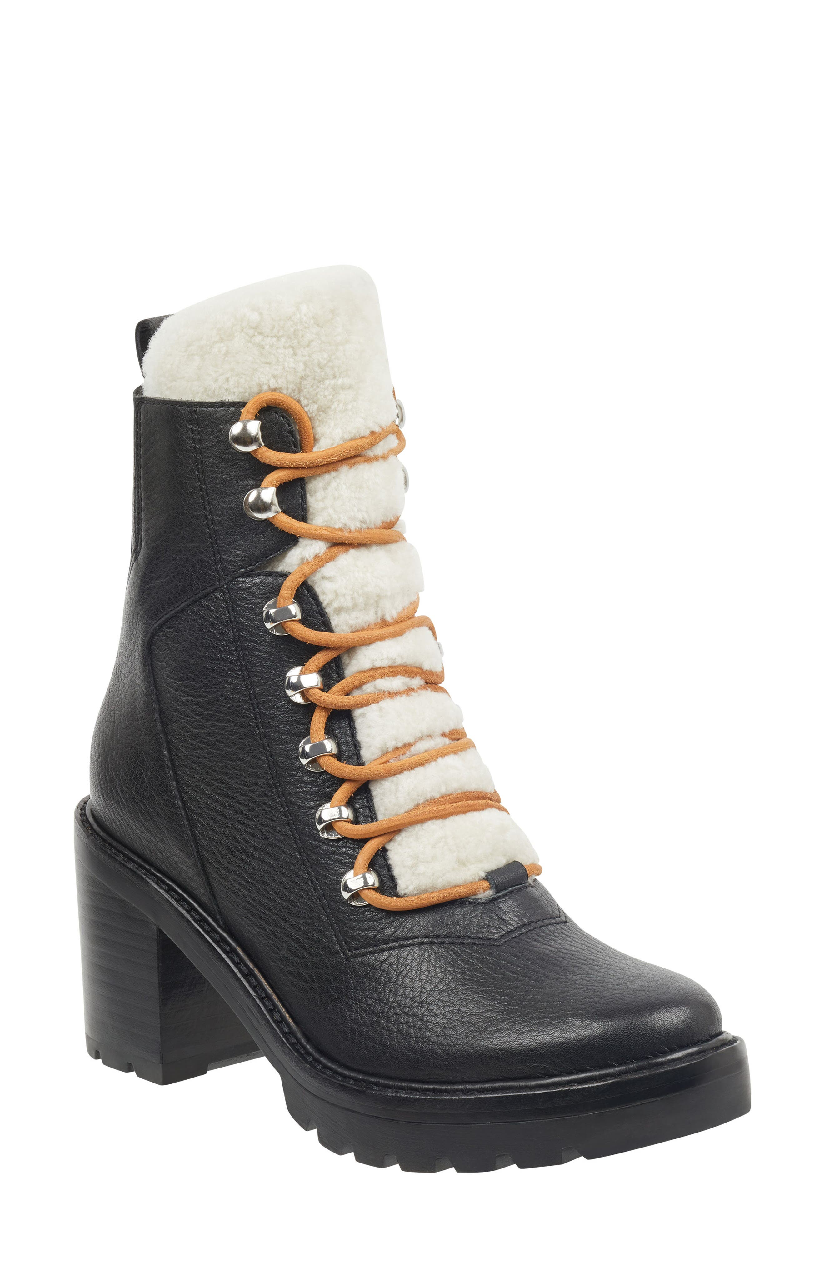 Denise Combat Boot,                         Main,                         color, BLACK/ NATURAL LEATHER