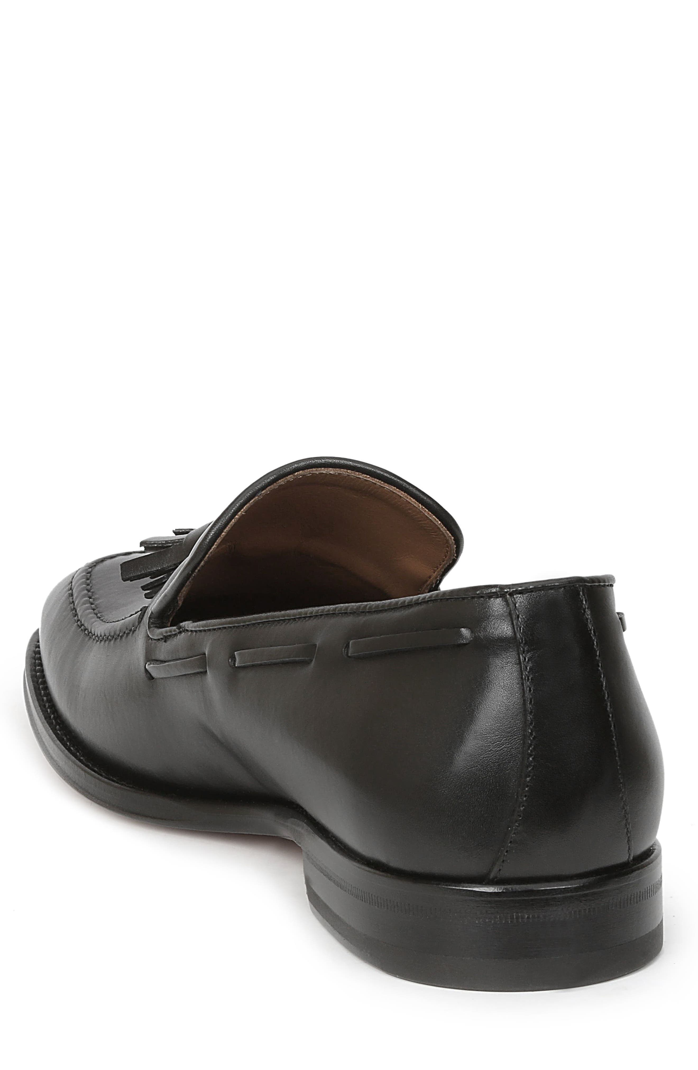 Fabiolo Tasseled Apron Toe Loafer,                             Alternate thumbnail 2, color,                             BLACK